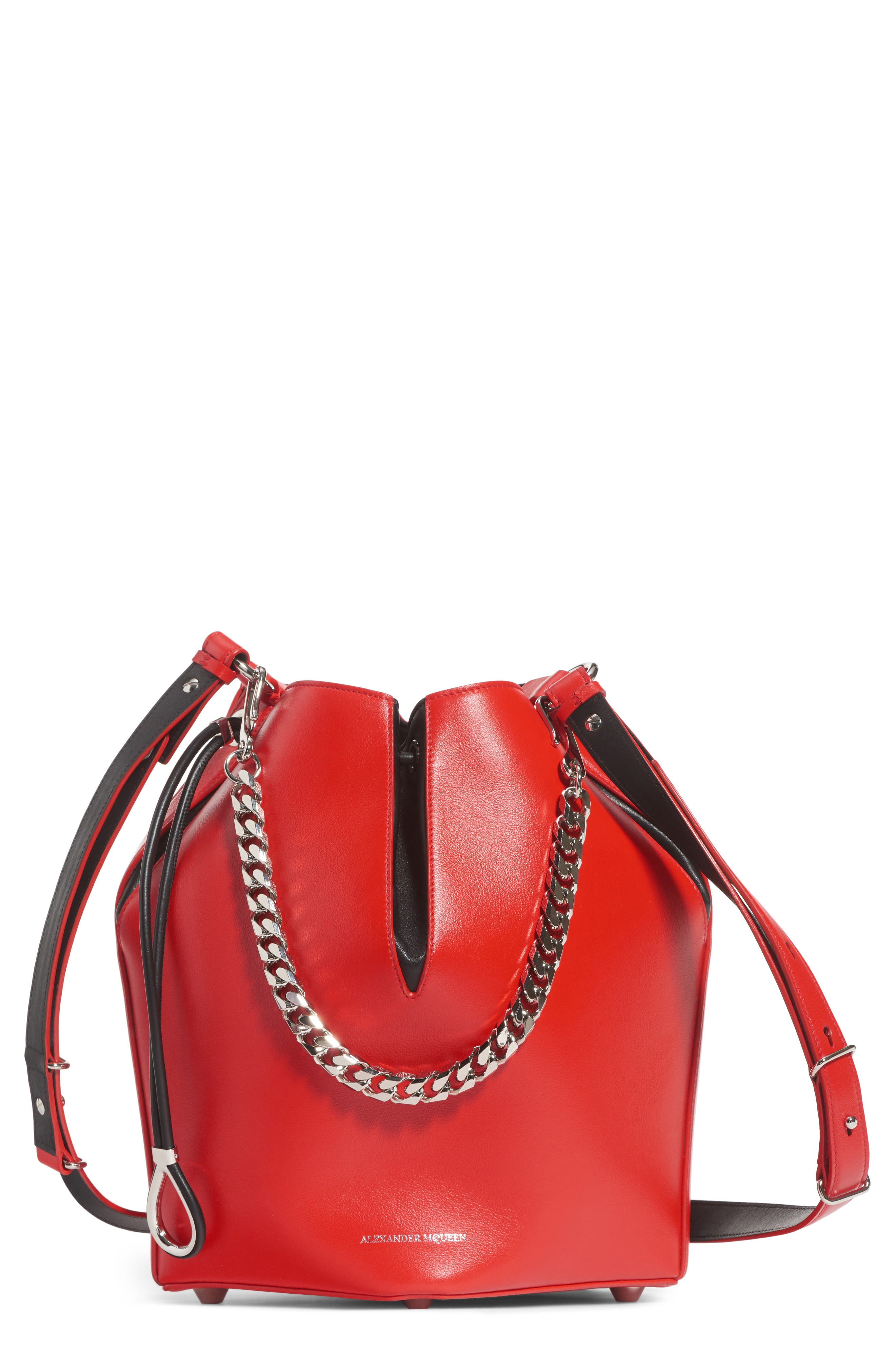 Leather Bucket Bag,                         Main,                         color, LUST RED/ BLACK