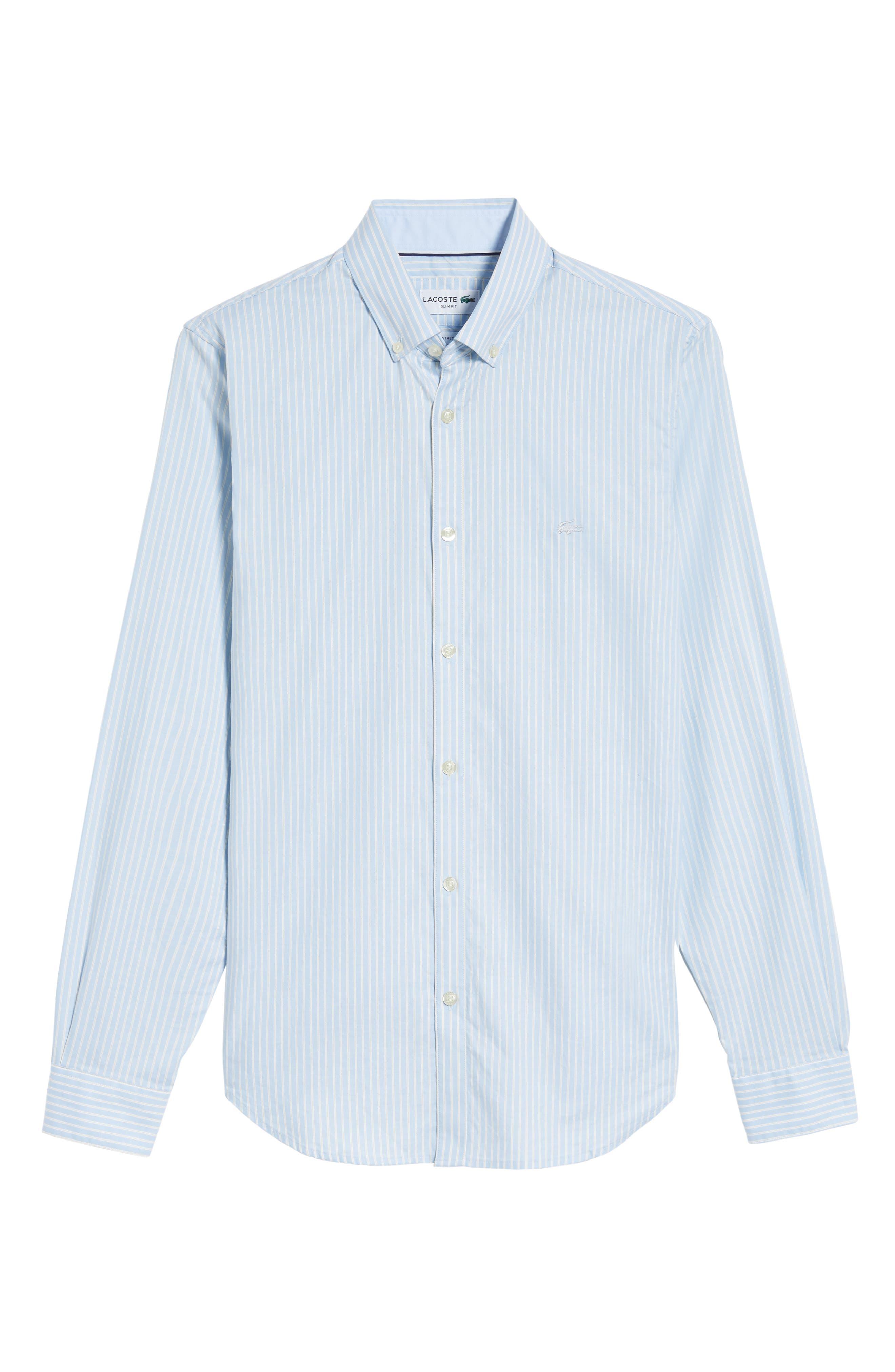 LACOSTE,                             Slim Fit Stripe Shirt,                             Alternate thumbnail 6, color,                             436