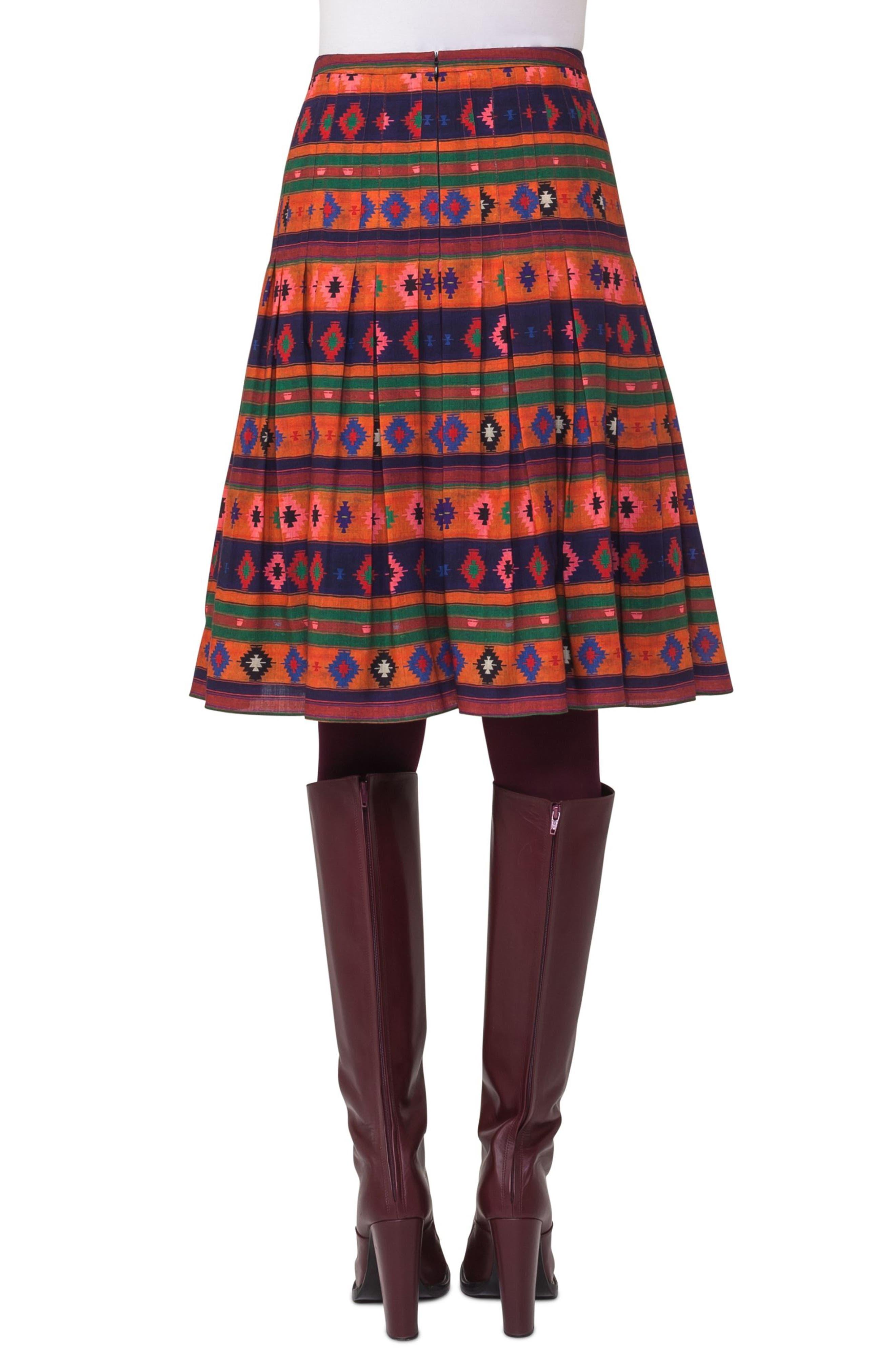 Print Wool Bell Skirt,                             Alternate thumbnail 2, color,