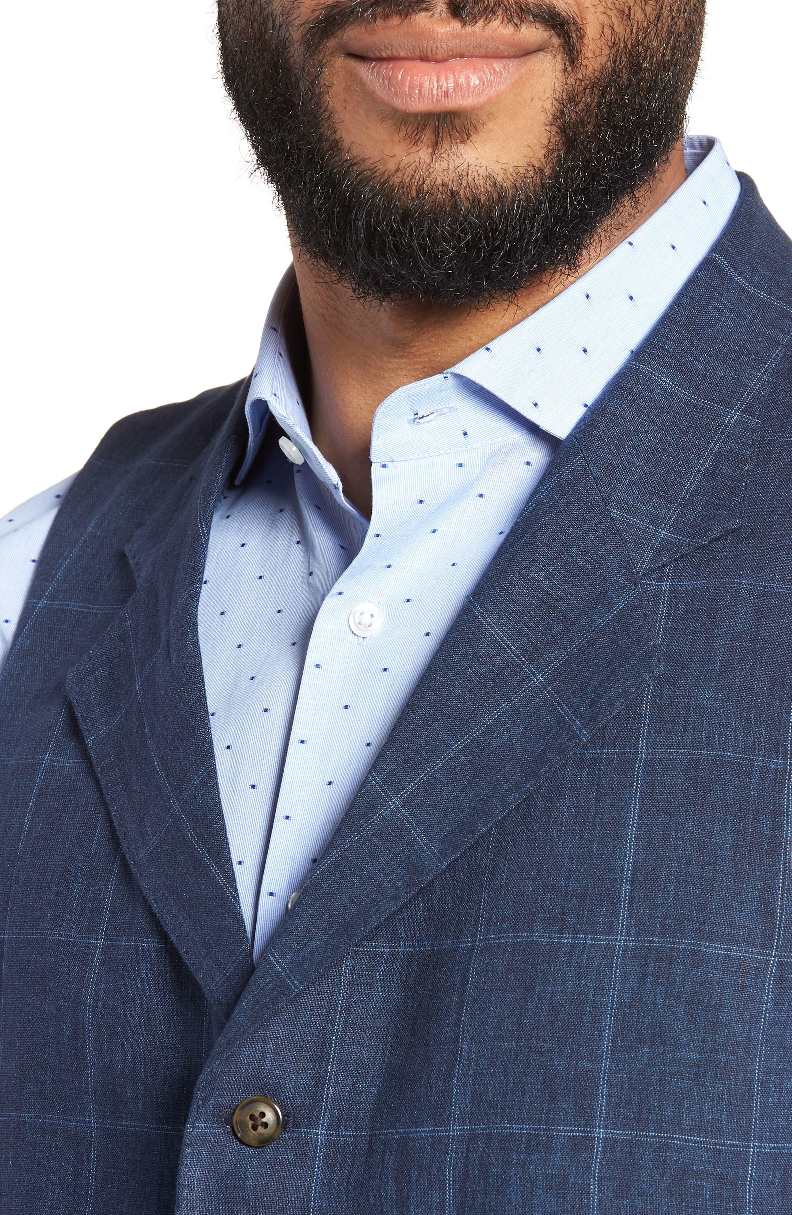 Stag Trim Fit Windowpane Linen Vest,                             Alternate thumbnail 4, color,                             400