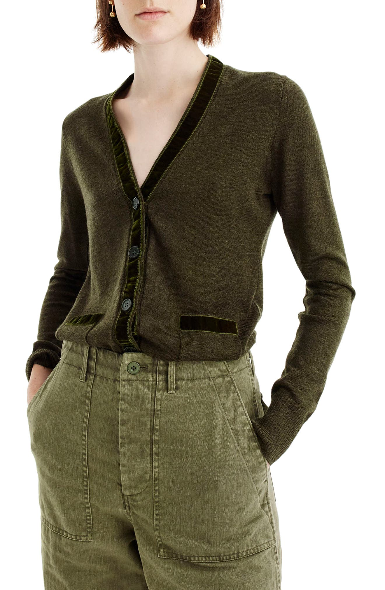 Harlow Velvet Trim Cardigan,                             Main thumbnail 1, color,                             309