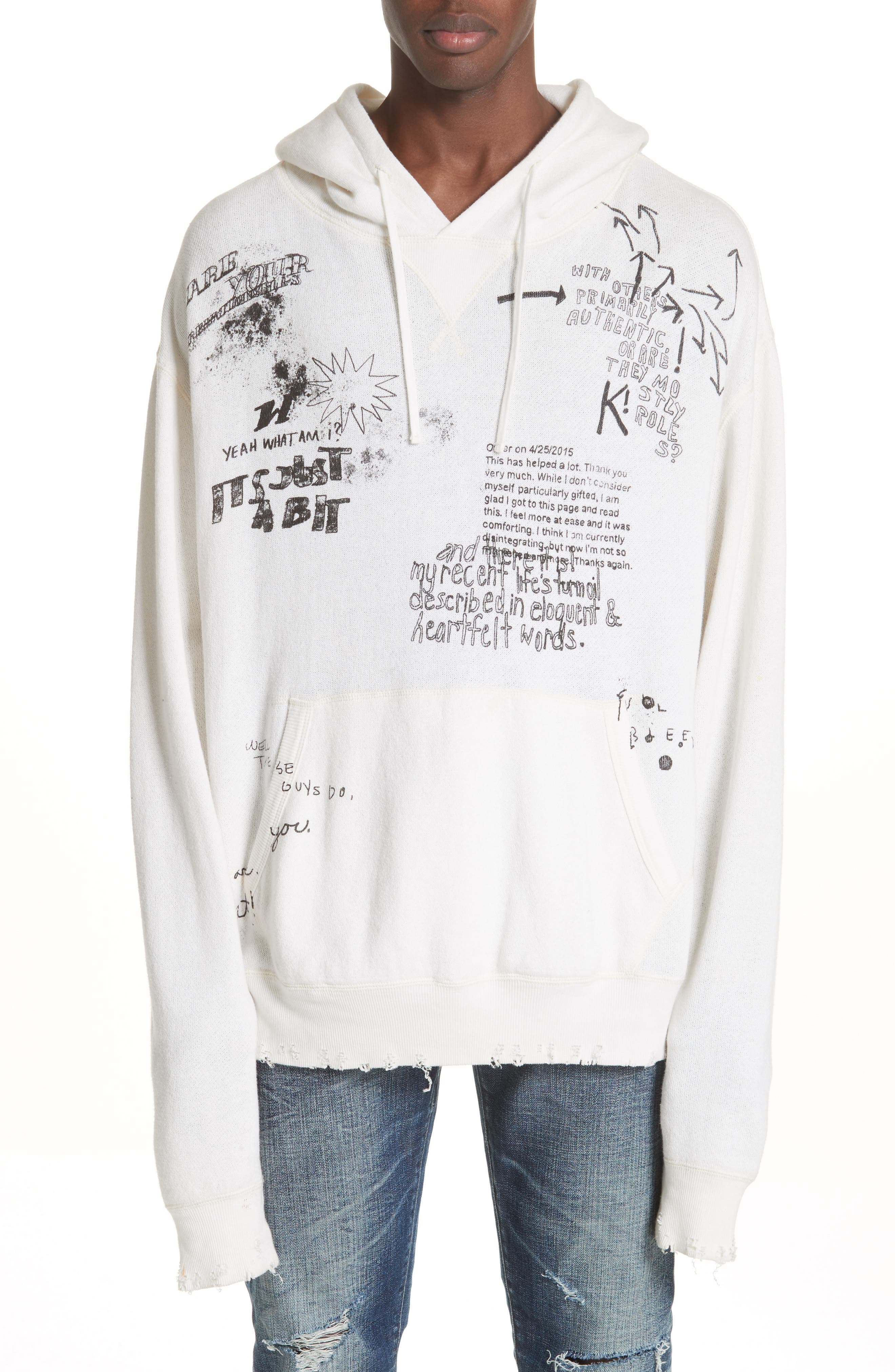 Doodle Hoodie,                         Main,                         color, WHITE