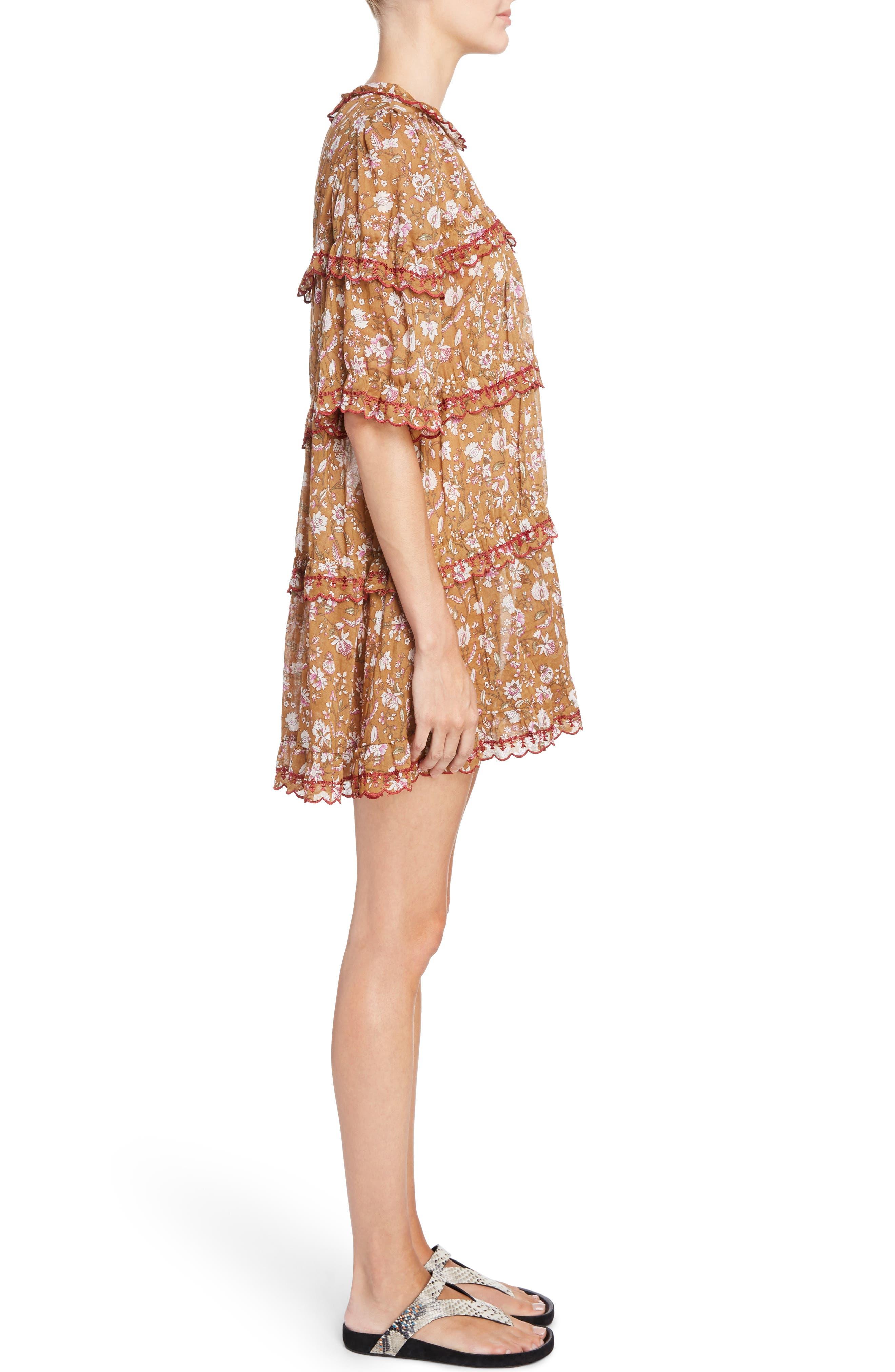 Isabel Marant Étoile Maiwenn Floral Print Cotton Dress,                             Alternate thumbnail 3, color,                             800