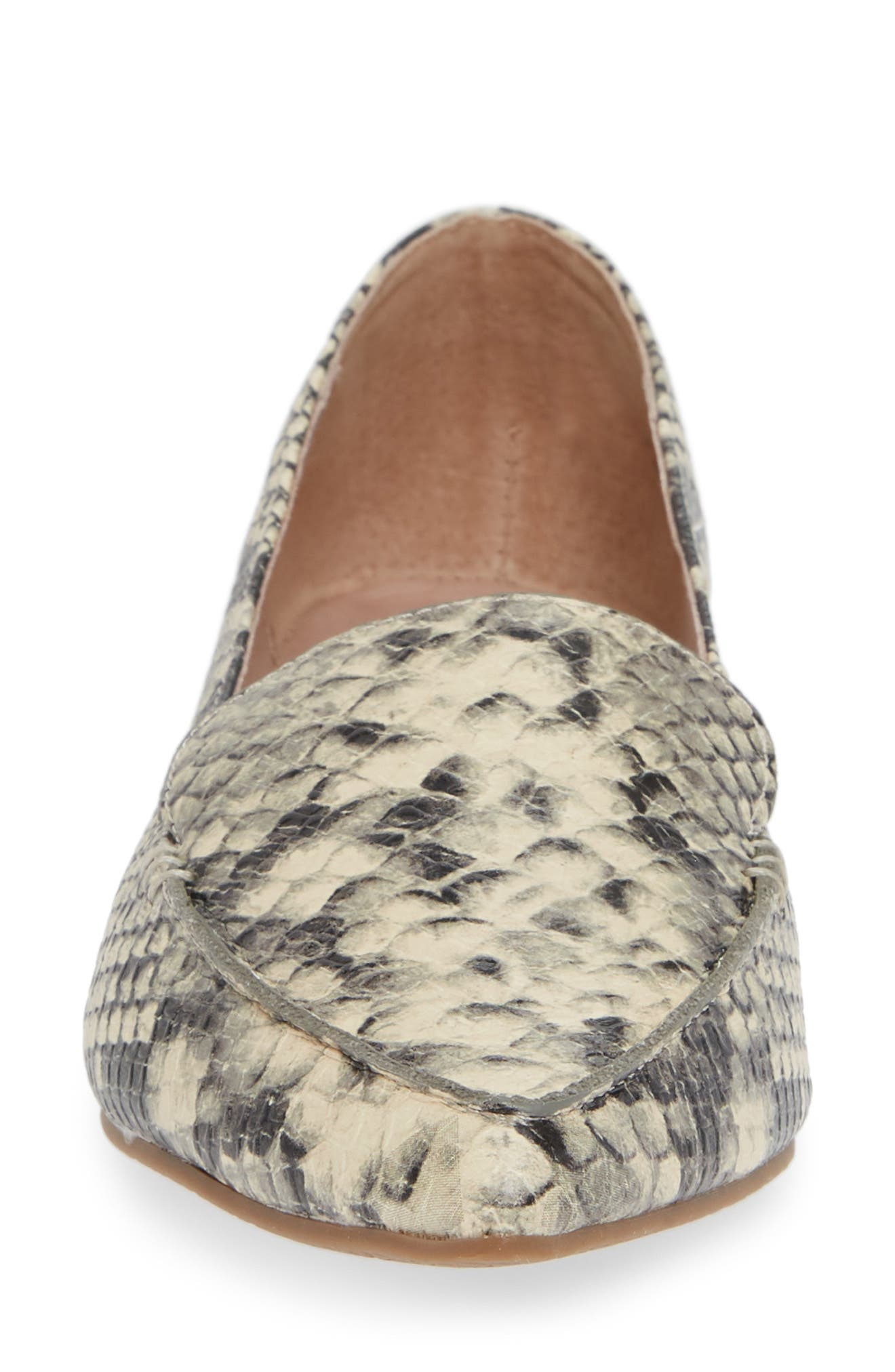 Feather Loafer Flat,                             Alternate thumbnail 4, color,                             SNAKE PRINT LEATHER