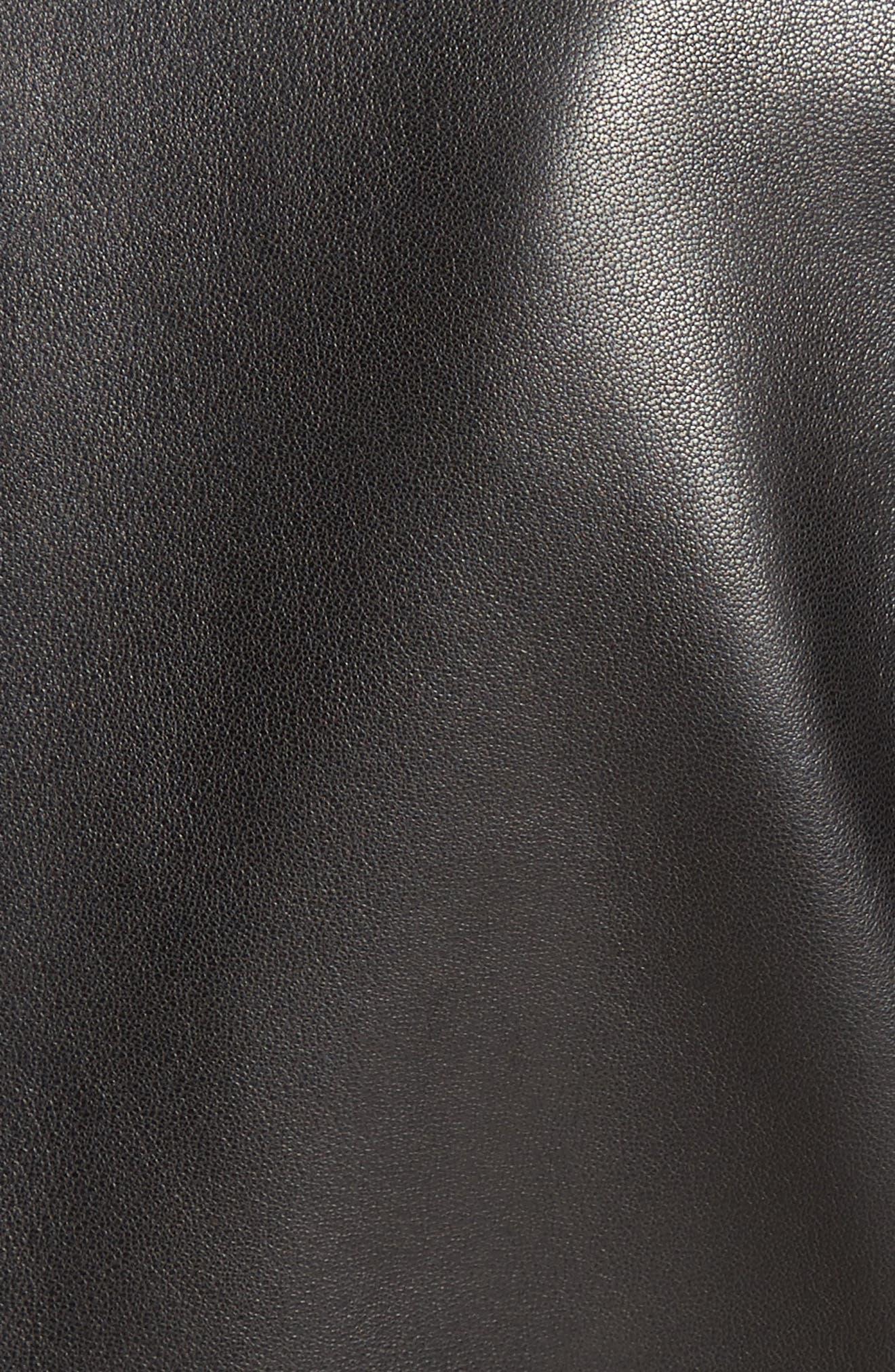 Asymmetrical Zip Leather Jacket,                             Alternate thumbnail 6, color,                             001