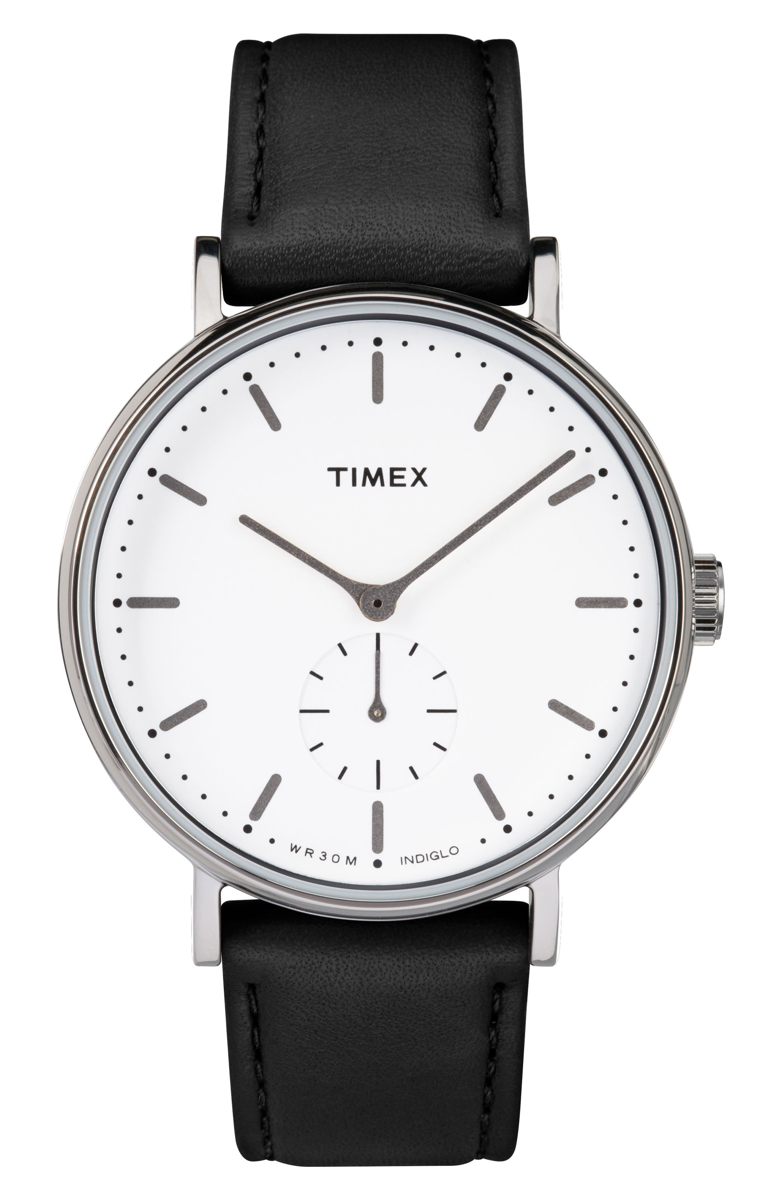 TIMEX<SUP>®</SUP>,                             Fairfield Leather Strap Watch, 41mm,                             Main thumbnail 1, color,                             007