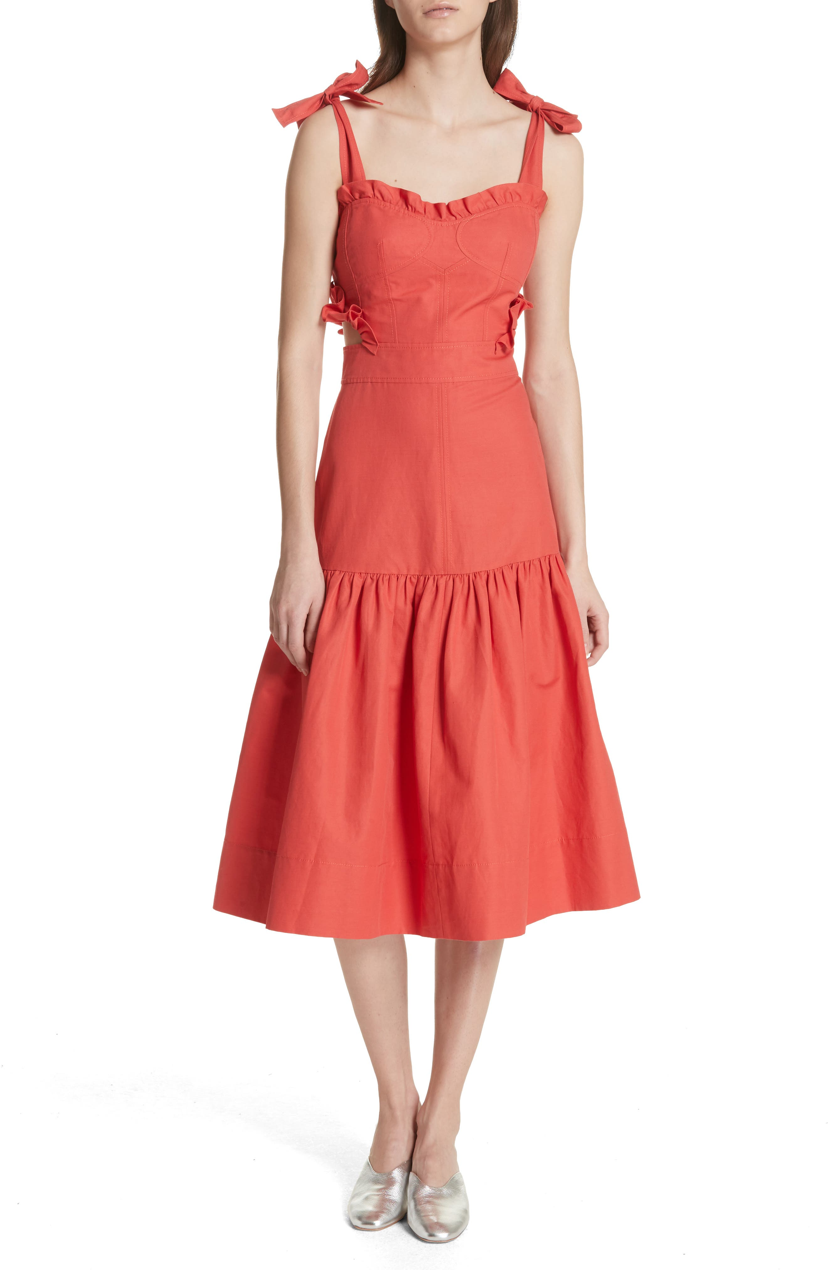 Sleeveless Ruffle Hem Dress,                         Main,                         color, 601