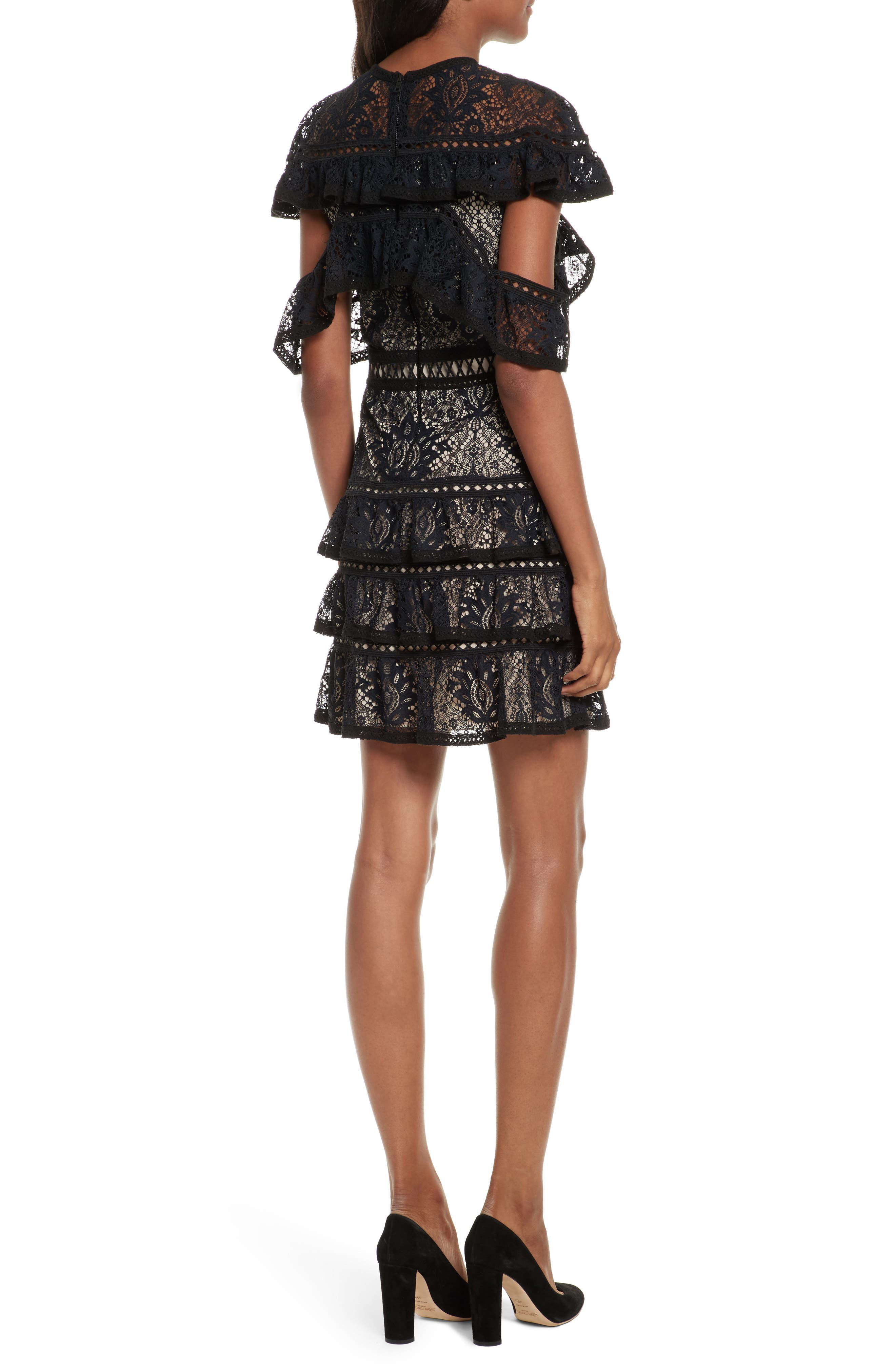 Jolie Tiered Ruffle Lace Dress,                             Alternate thumbnail 2, color,                             009