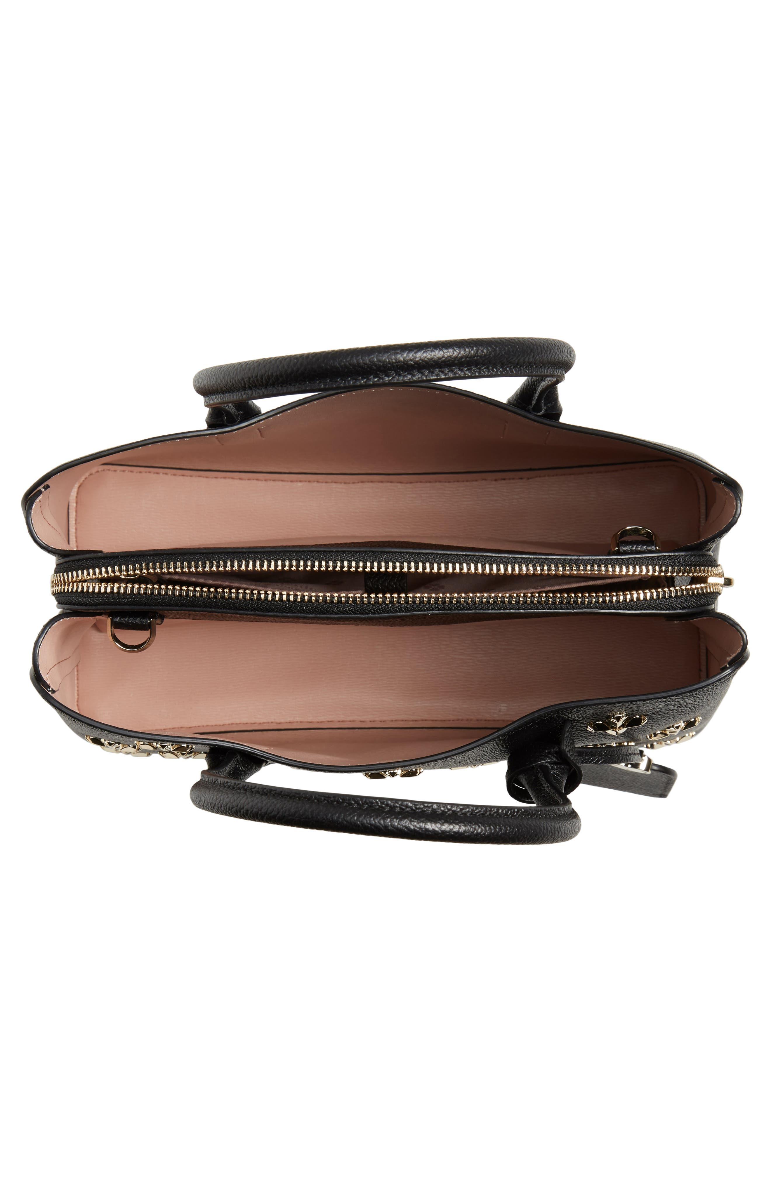 medium margaux embellished leather satchel,                             Alternate thumbnail 4, color,                             BLACK