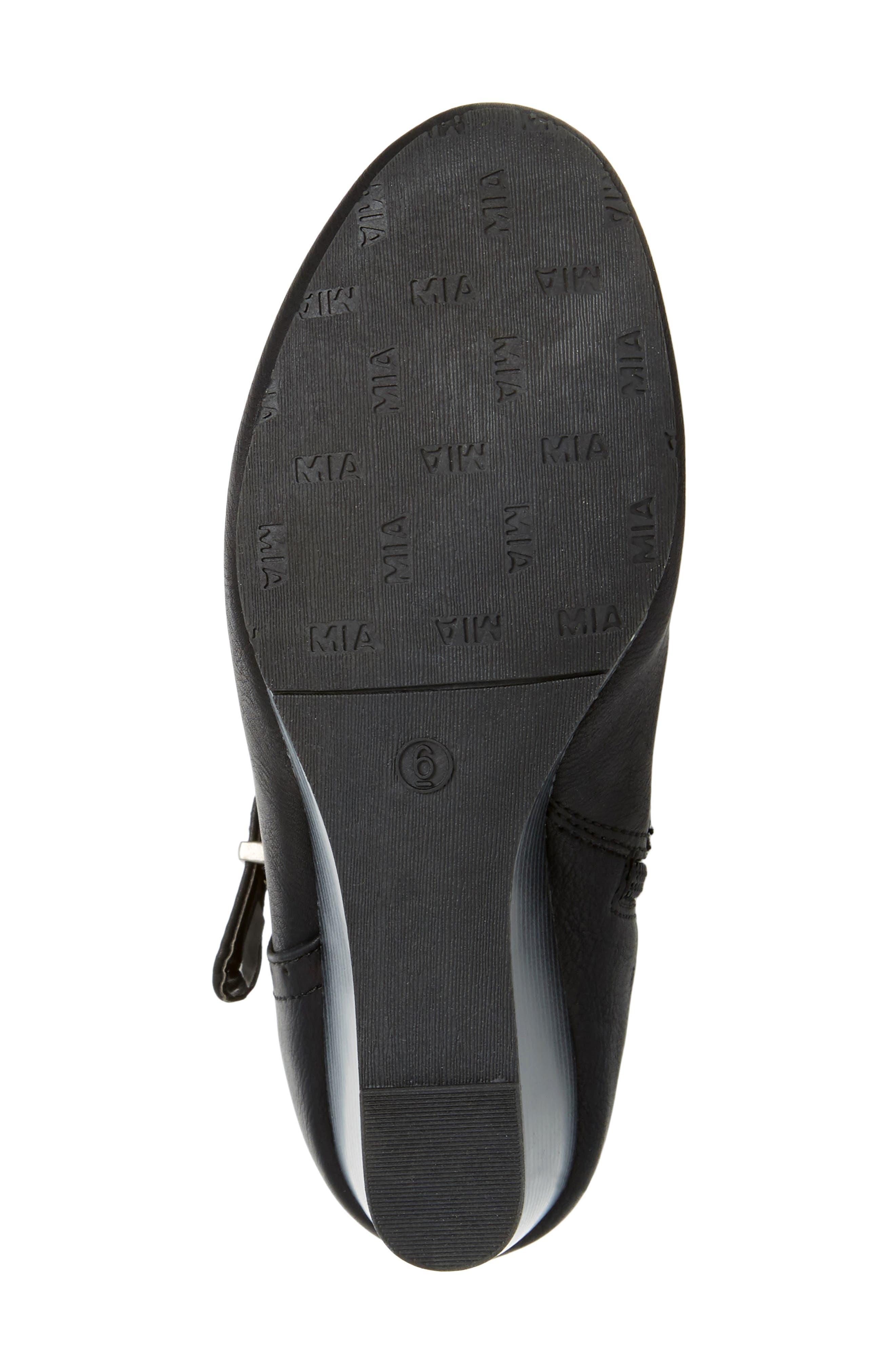 Claretta Knee High Wedge Boot,                             Alternate thumbnail 6, color,                             BLACK VEGAN LEATHER