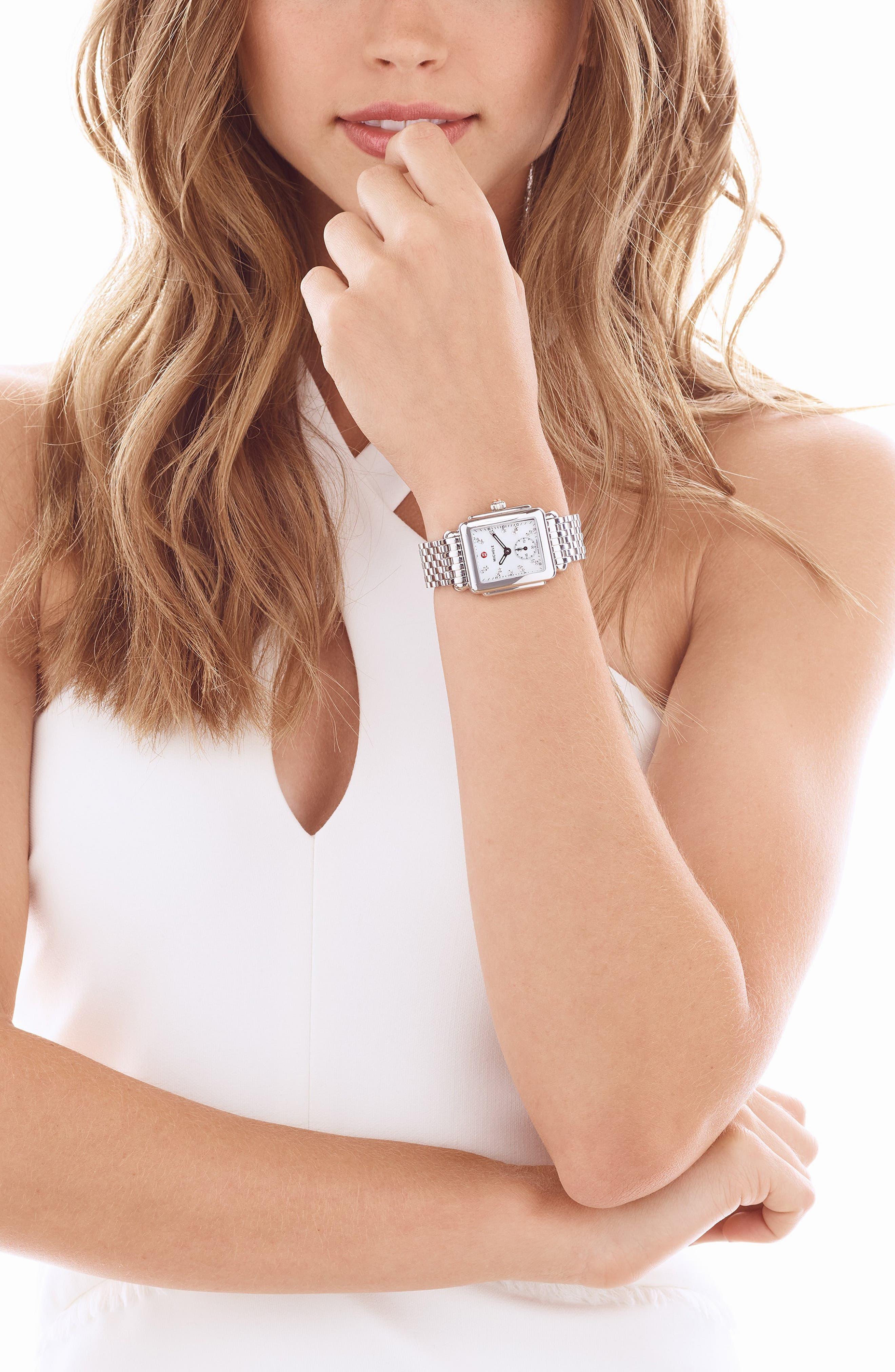 Deco 16 Diamond Dial Watch Head, 29mm x 31mm,                             Alternate thumbnail 2, color,                             SILVER