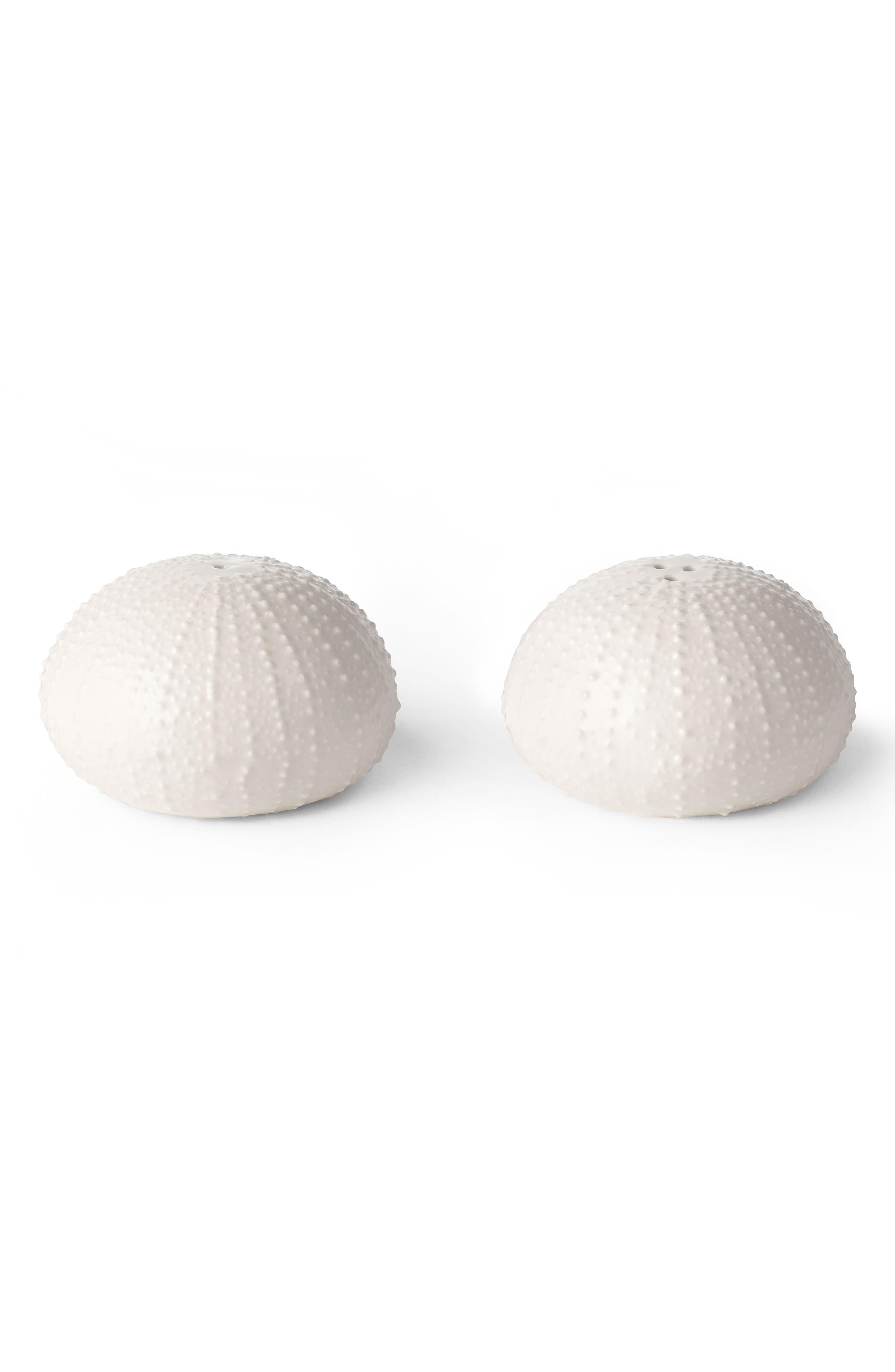 Sea Urchin Salt & Pepper Shakers,                             Main thumbnail 1, color,                             WHITE