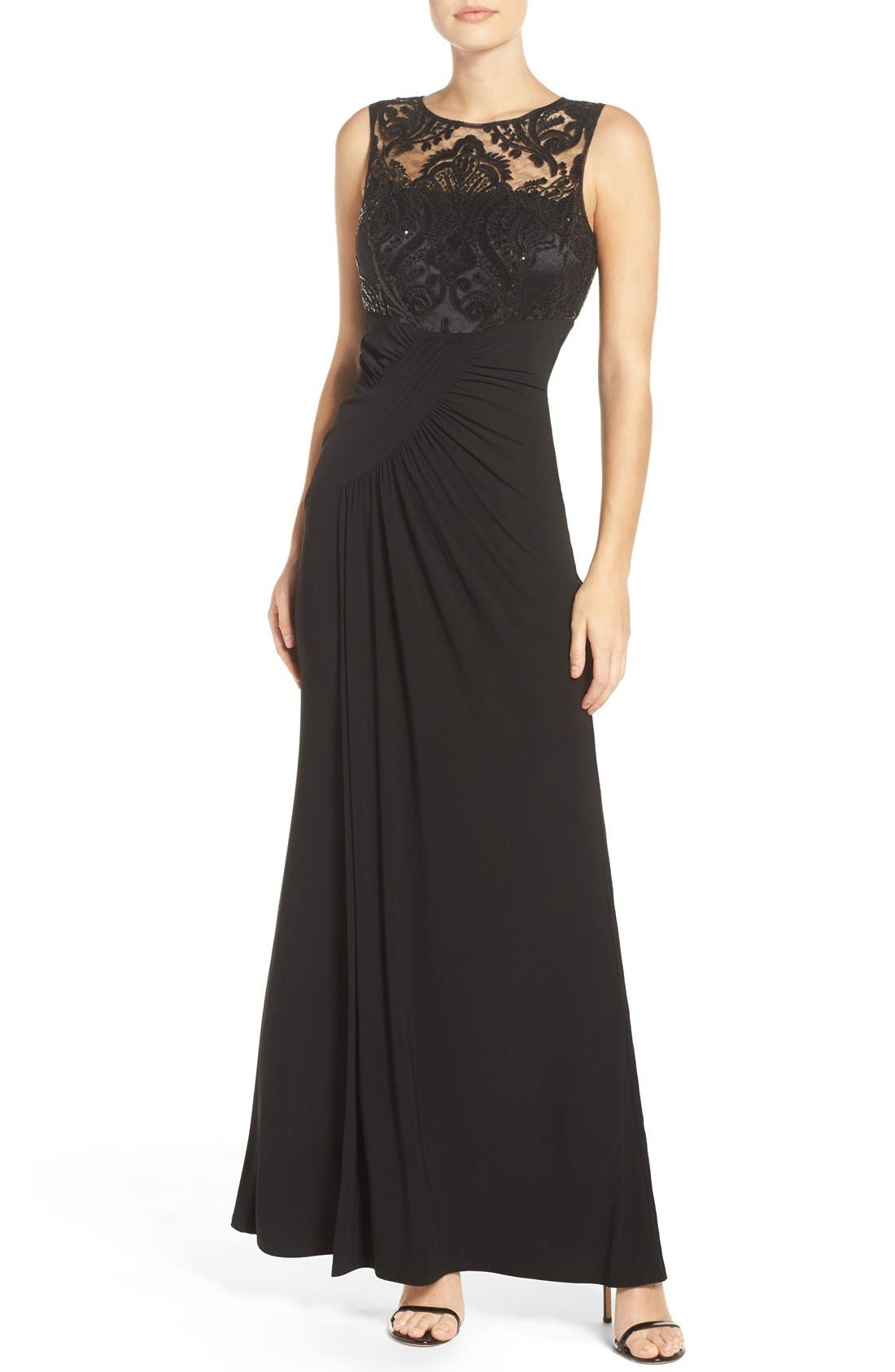 Draped Sleeveless Gown,                         Main,                         color, 001