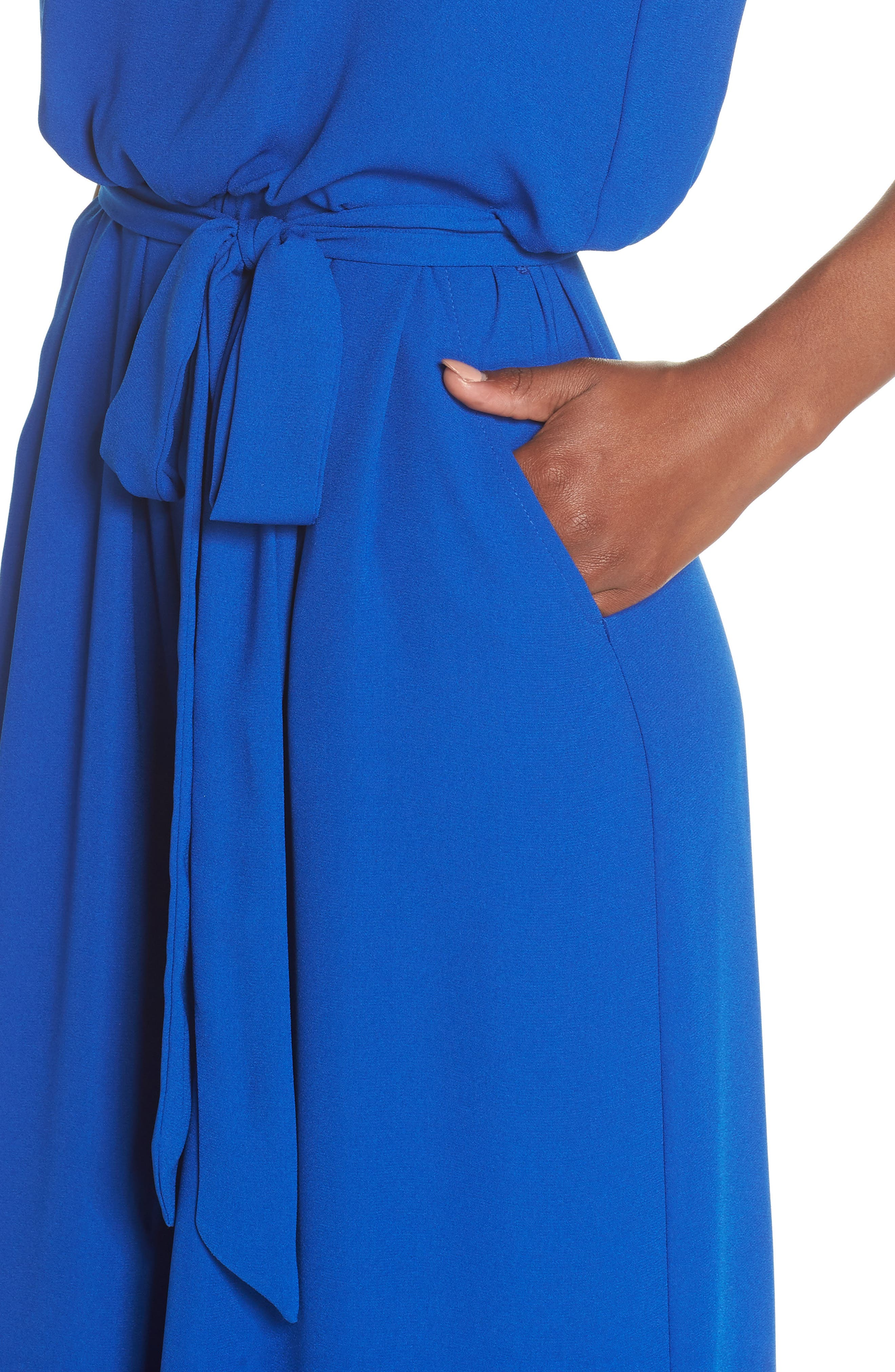 Moss Crepe Wide Leg Jumpsuit,                             Alternate thumbnail 4, color,                             ROYAL