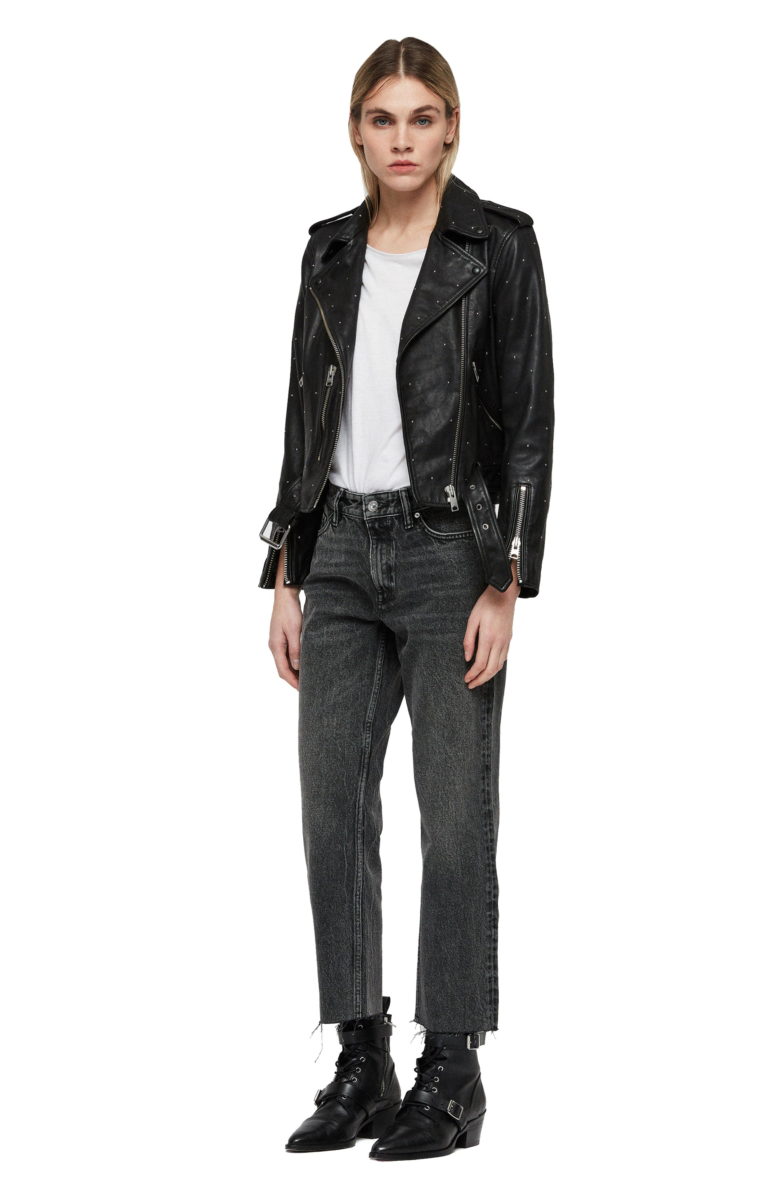 Balfern Studded Leather Biker Jacket,                             Alternate thumbnail 6, color,                             BLACK