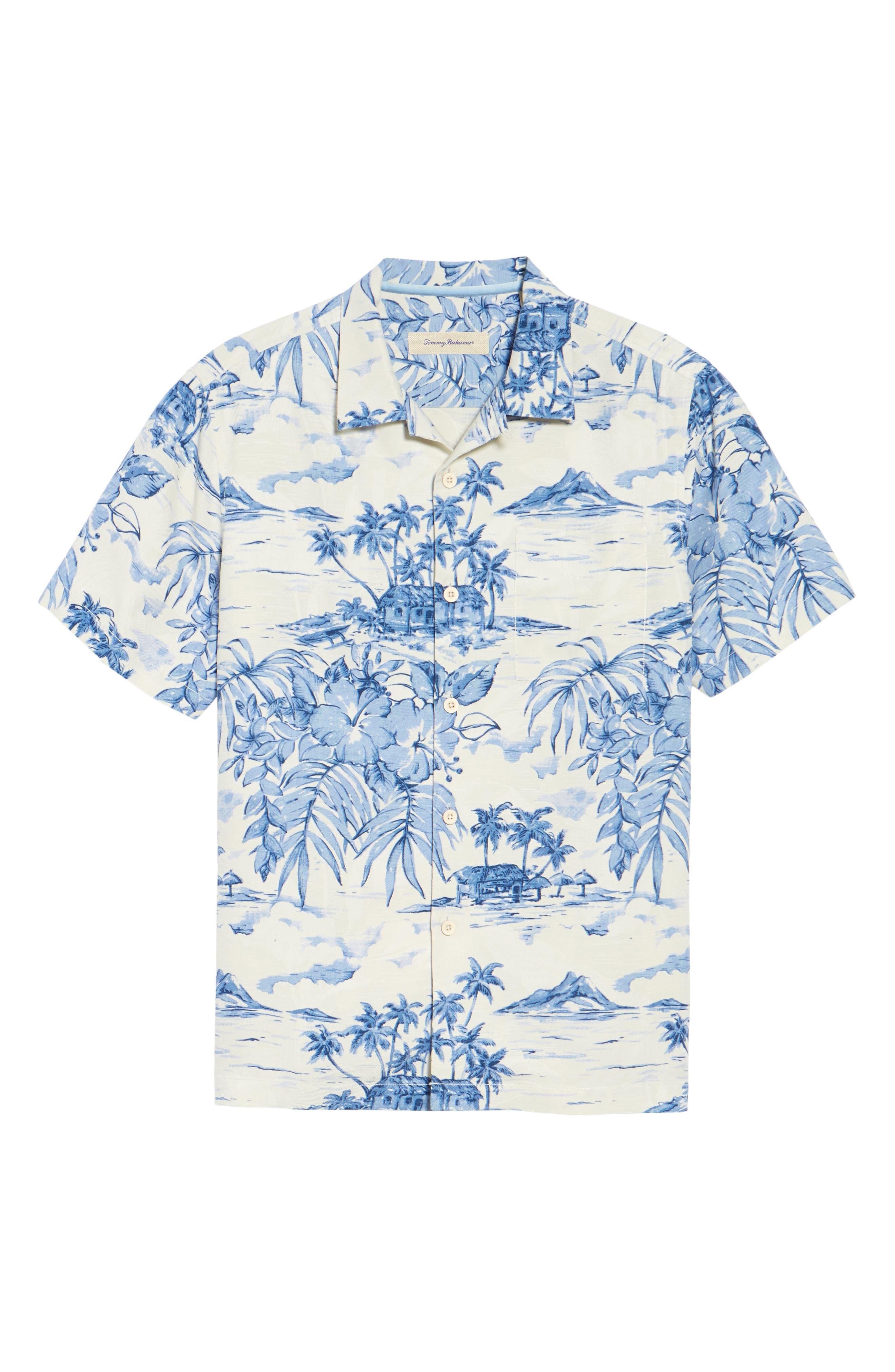 Destination Hawaii Classic Fit Silk Camp Shirt,                             Alternate thumbnail 6, color,                             100