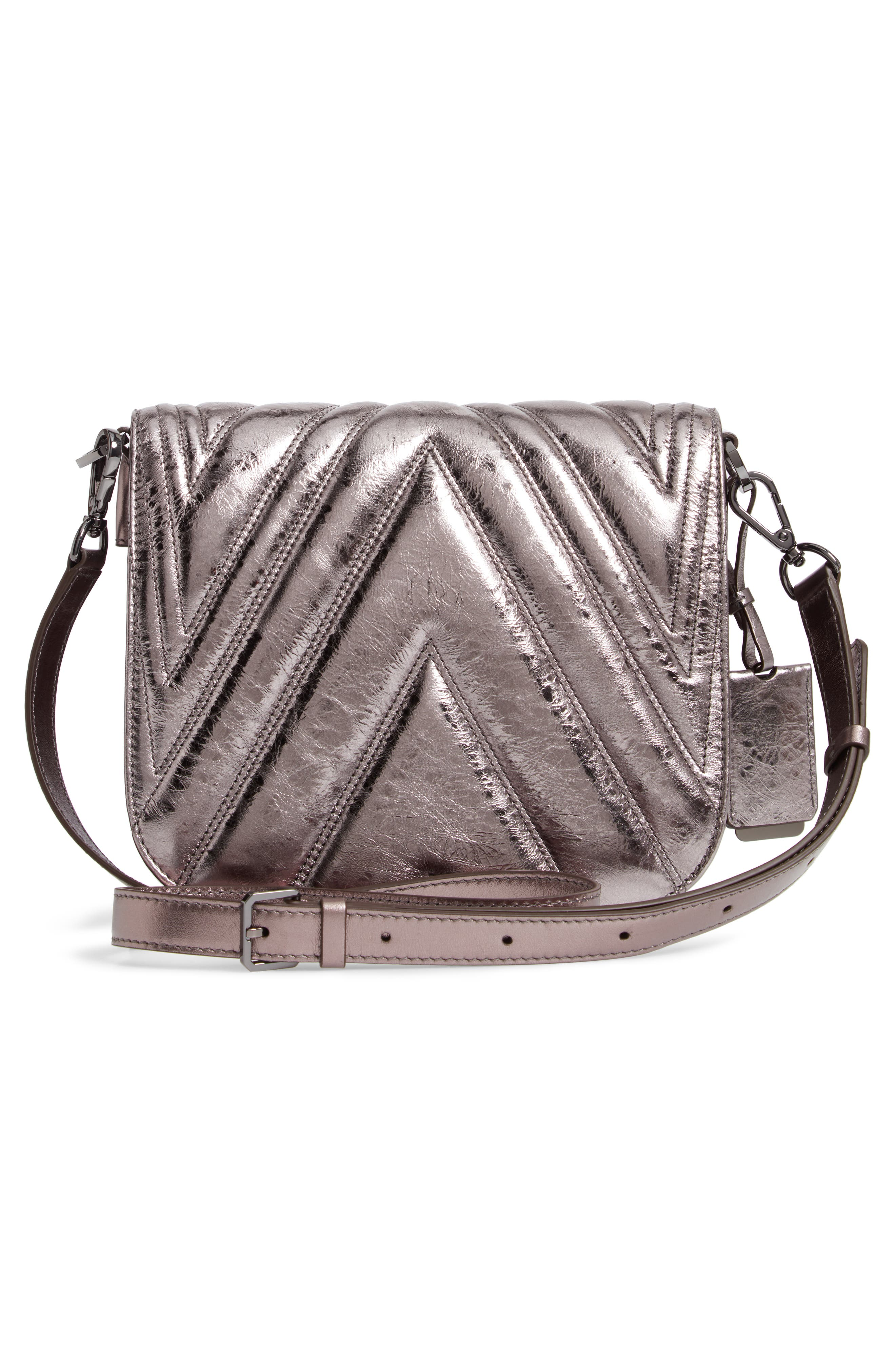 Patricia Quilted Metallic Leather Saddle Bag,                             Alternate thumbnail 3, color,                             040