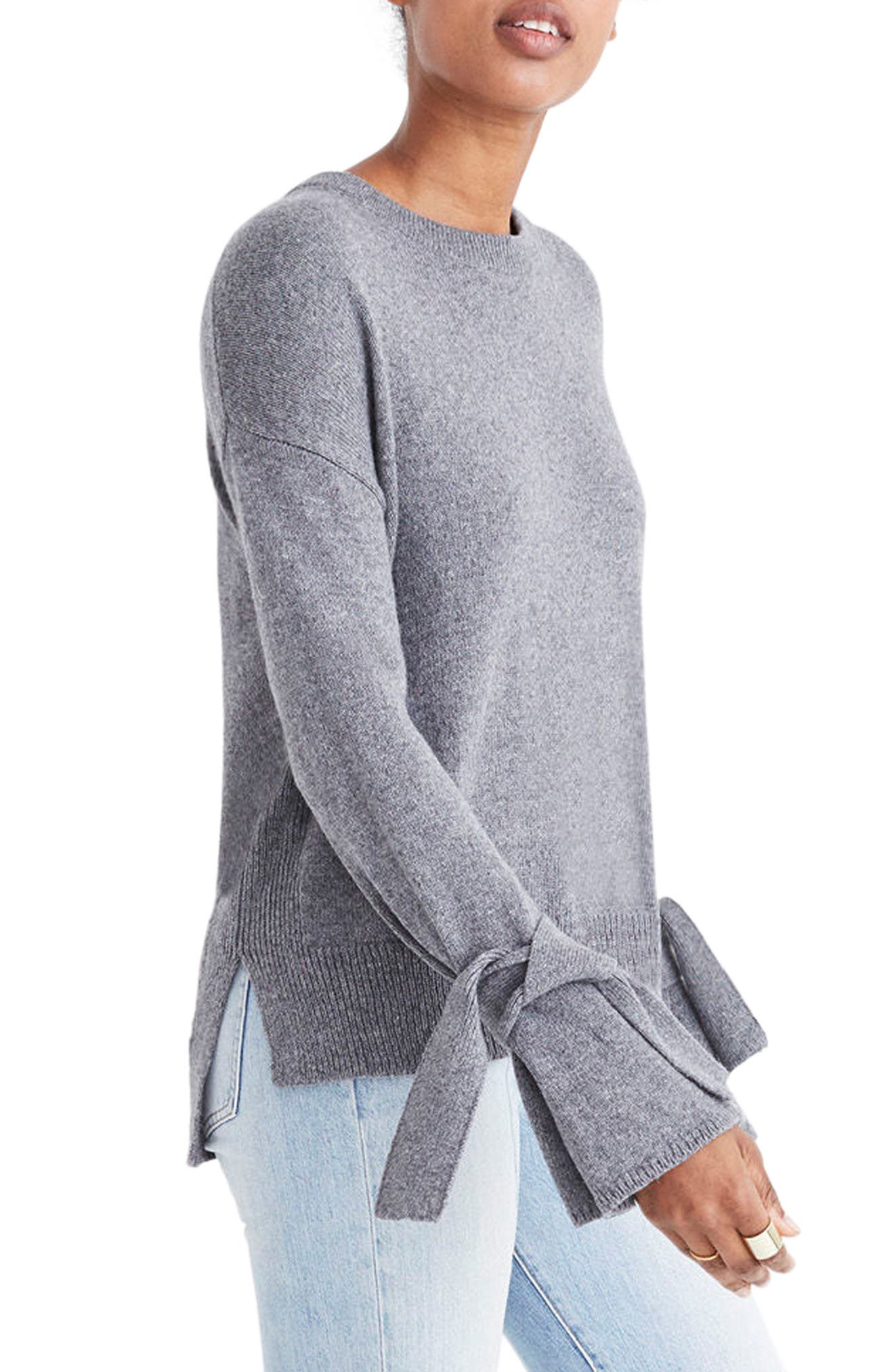 Tie Cuff Pullover Sweater,                             Alternate thumbnail 7, color,