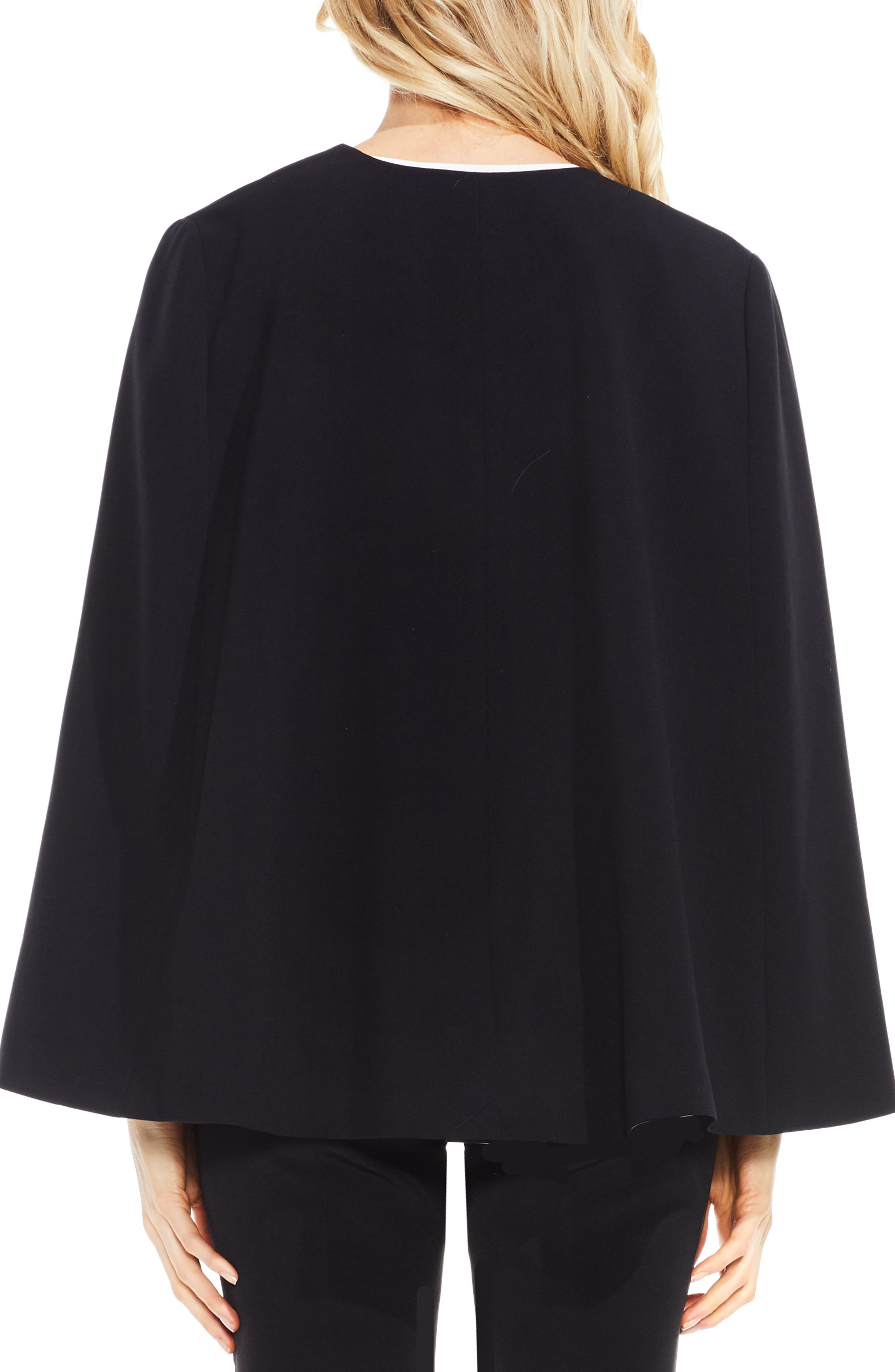 Milano Twill Cape Jacket,                             Alternate thumbnail 2, color,                             RICH BLACK