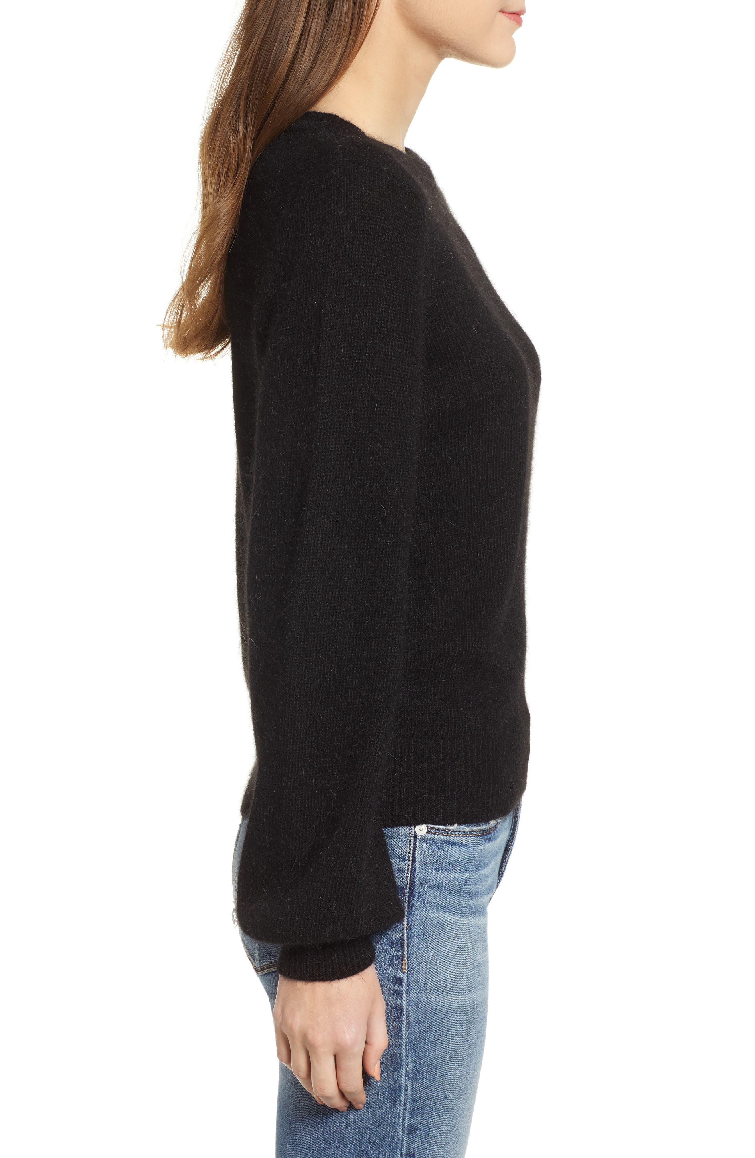 Blouson Sleeve Sweater,                             Alternate thumbnail 3, color,                             BLACK