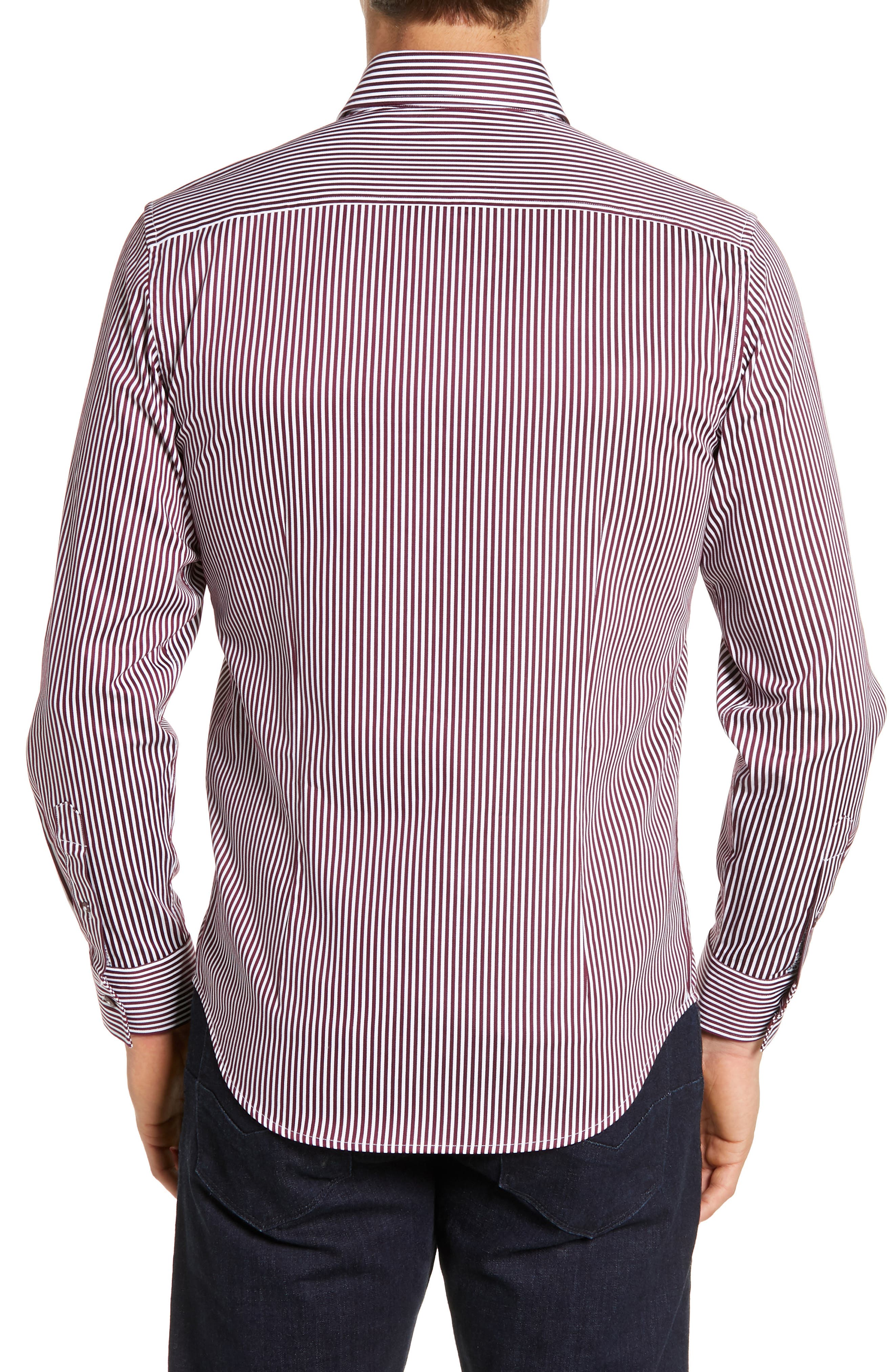 Luther Classic Fit Stripe Sport Shirt,                             Alternate thumbnail 3, color,                             BURGUNDY