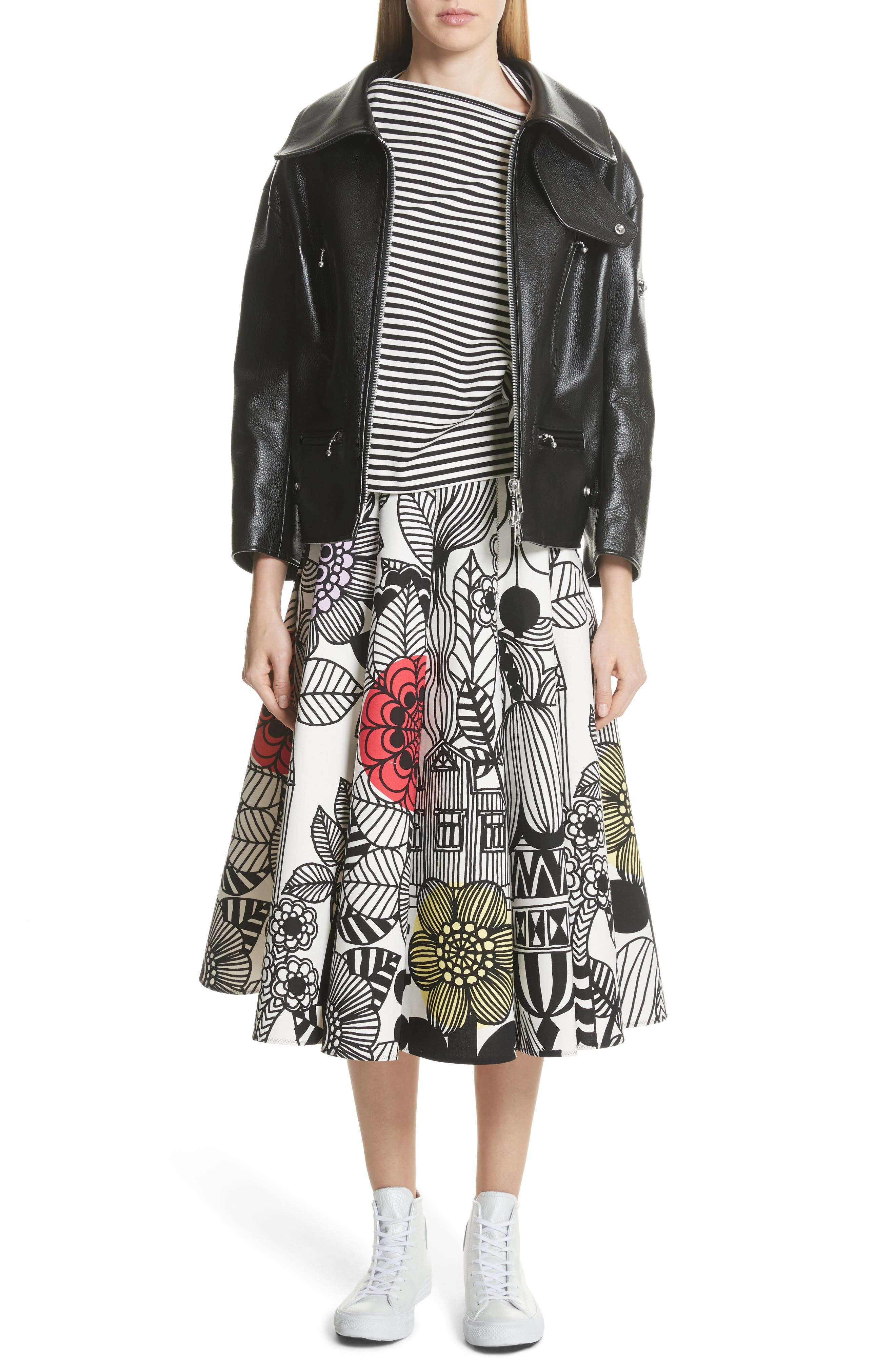 x Marimekko Vegetable Print Cotton Skirt,                             Alternate thumbnail 7, color,                             100