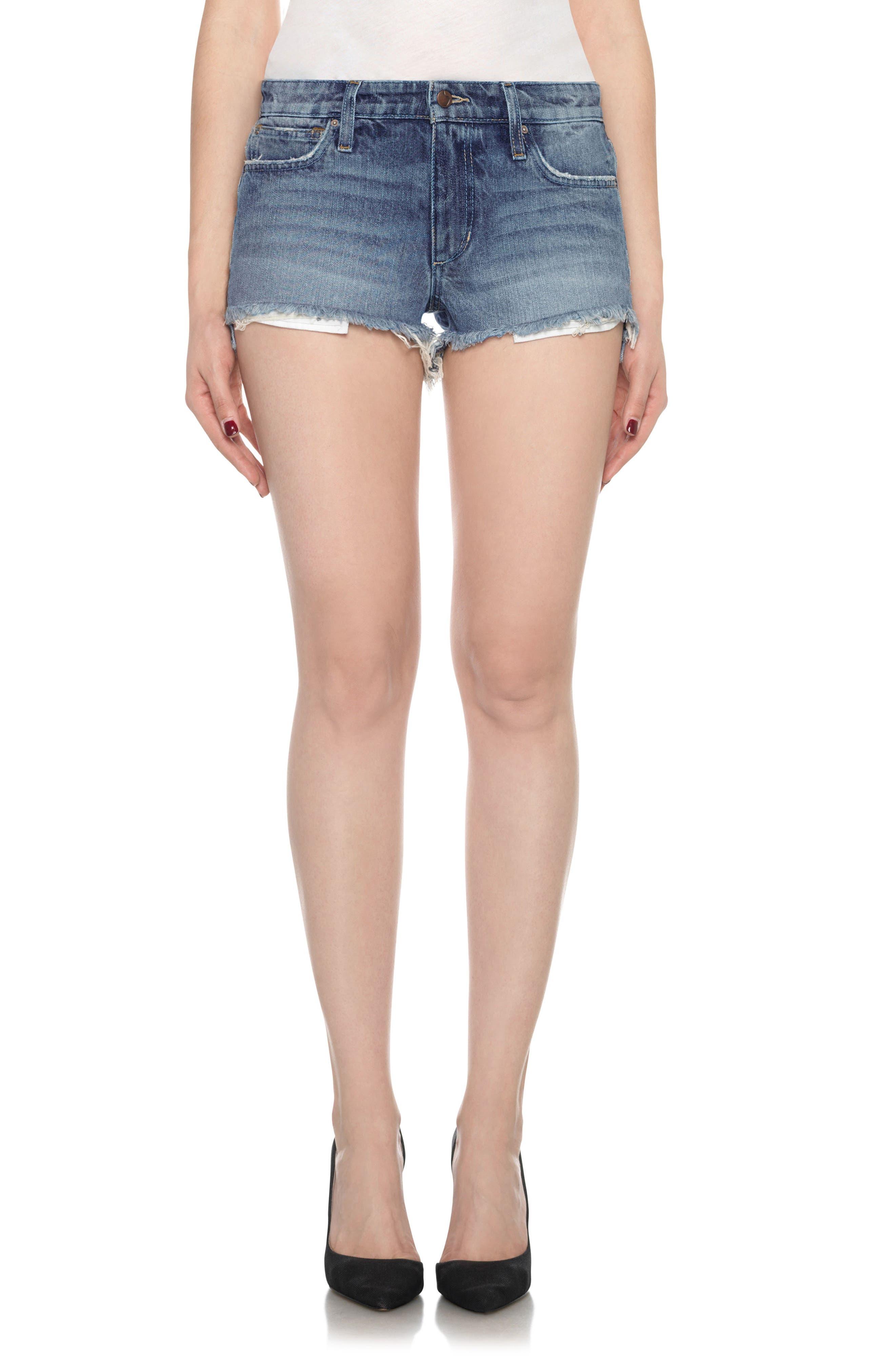 Collector's High/Low Denim Shorts,                             Main thumbnail 1, color,                             430