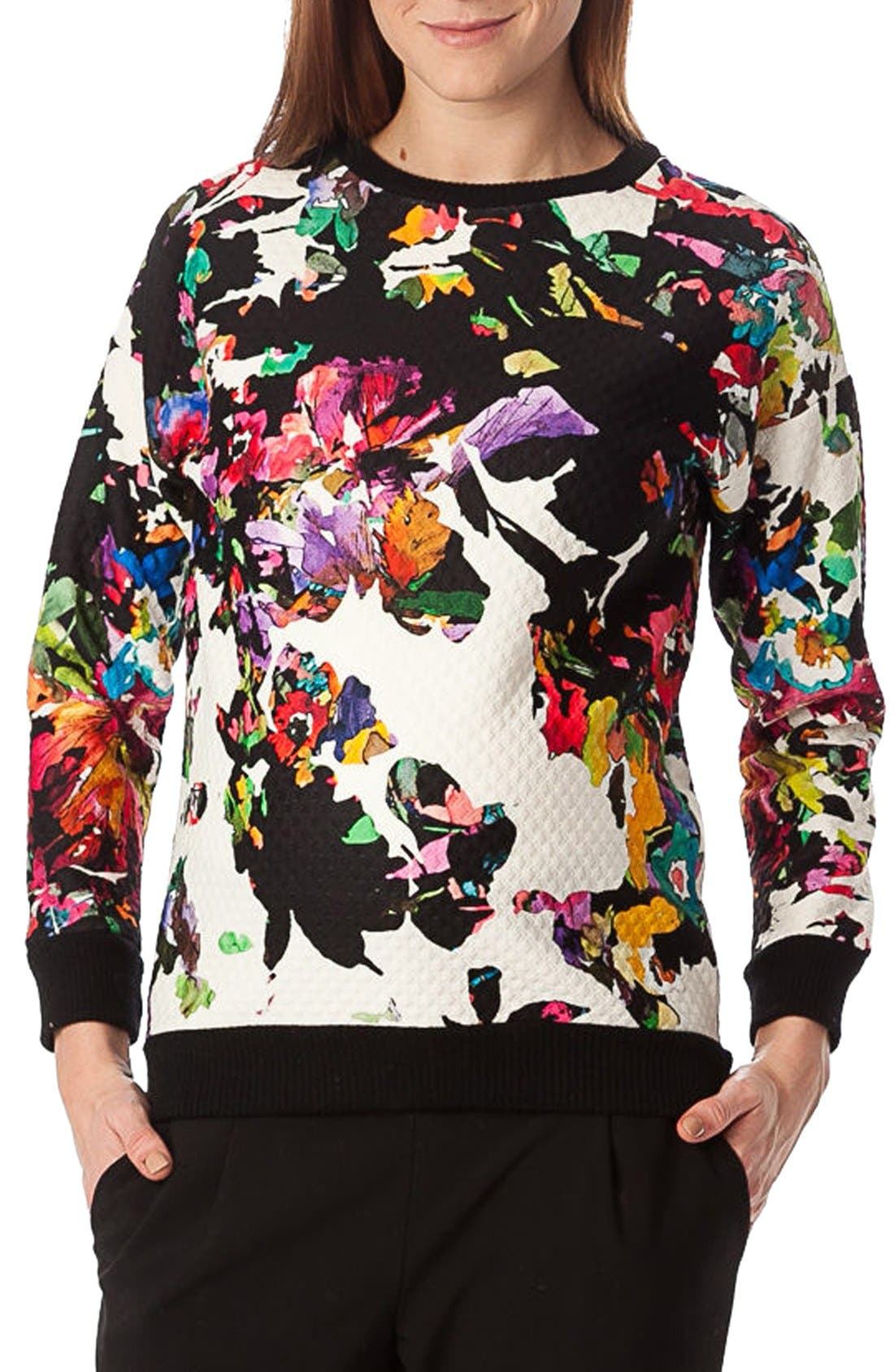 'Ocean' Floral Print Quilted Maternity Sweatshirt,                             Alternate thumbnail 5, color,
