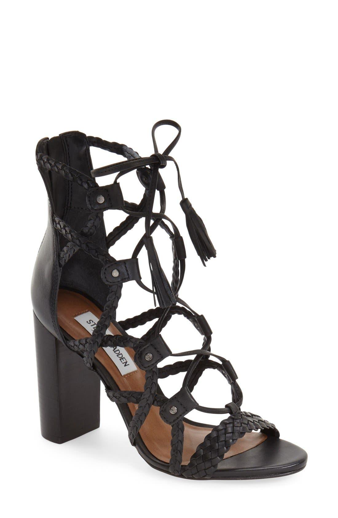 'Tarrra' Ghillie Block Heel Sandal,                         Main,                         color, 001