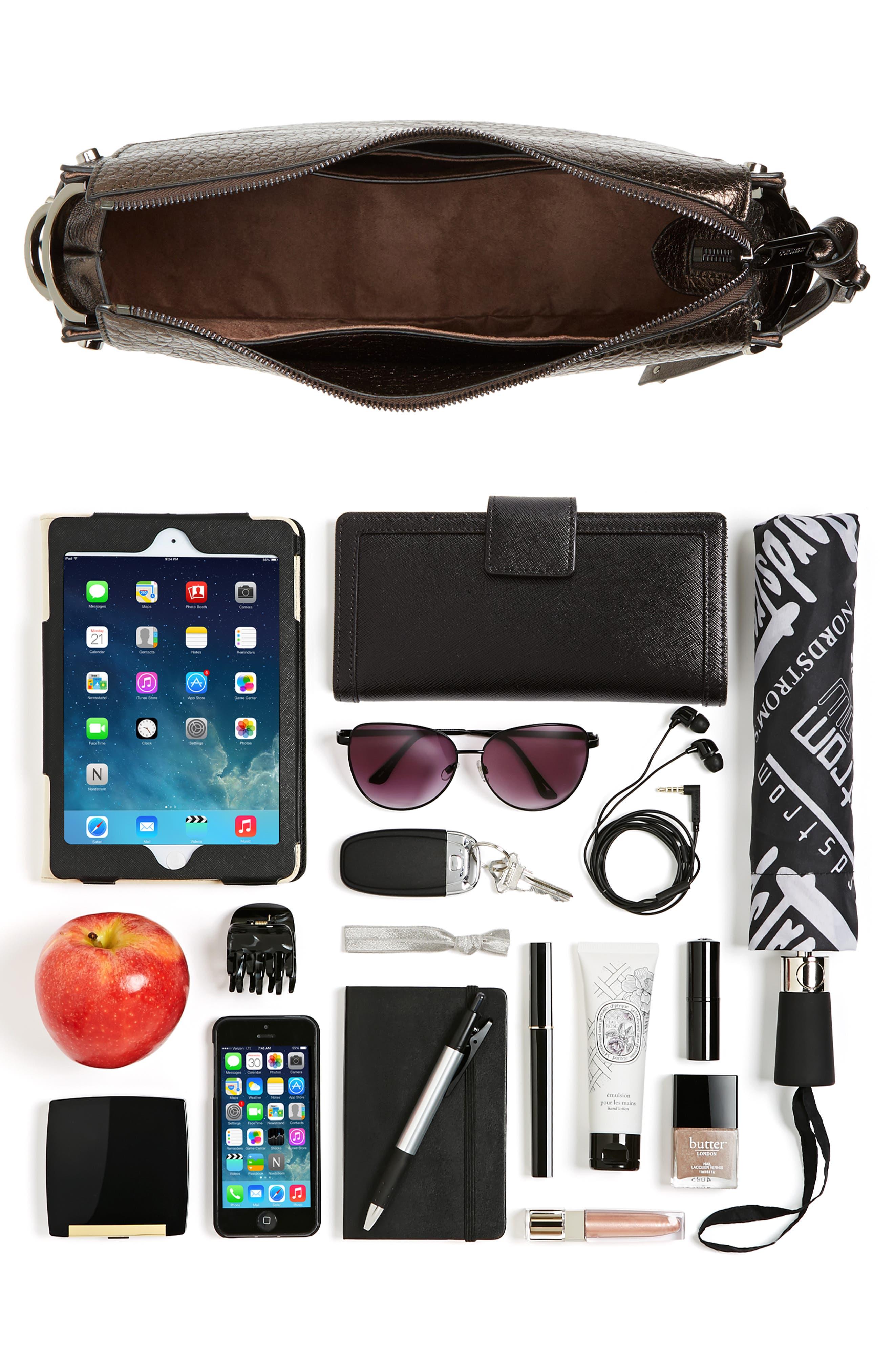 Artie Metallic Leather Hobo Bag,                             Alternate thumbnail 7, color,                             200