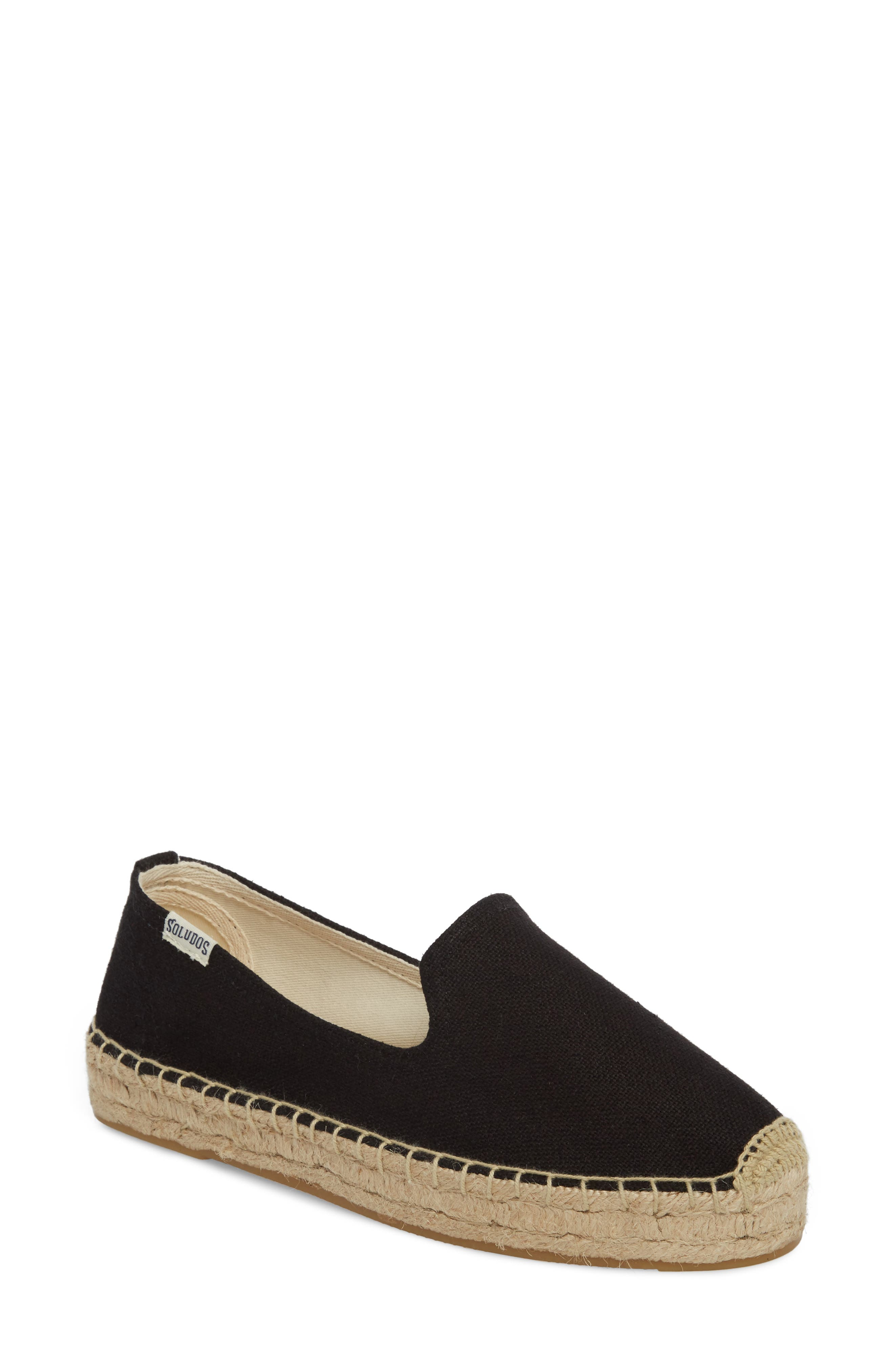 Platform Espadrille Flat,                         Main,                         color, BLACK CANVAS
