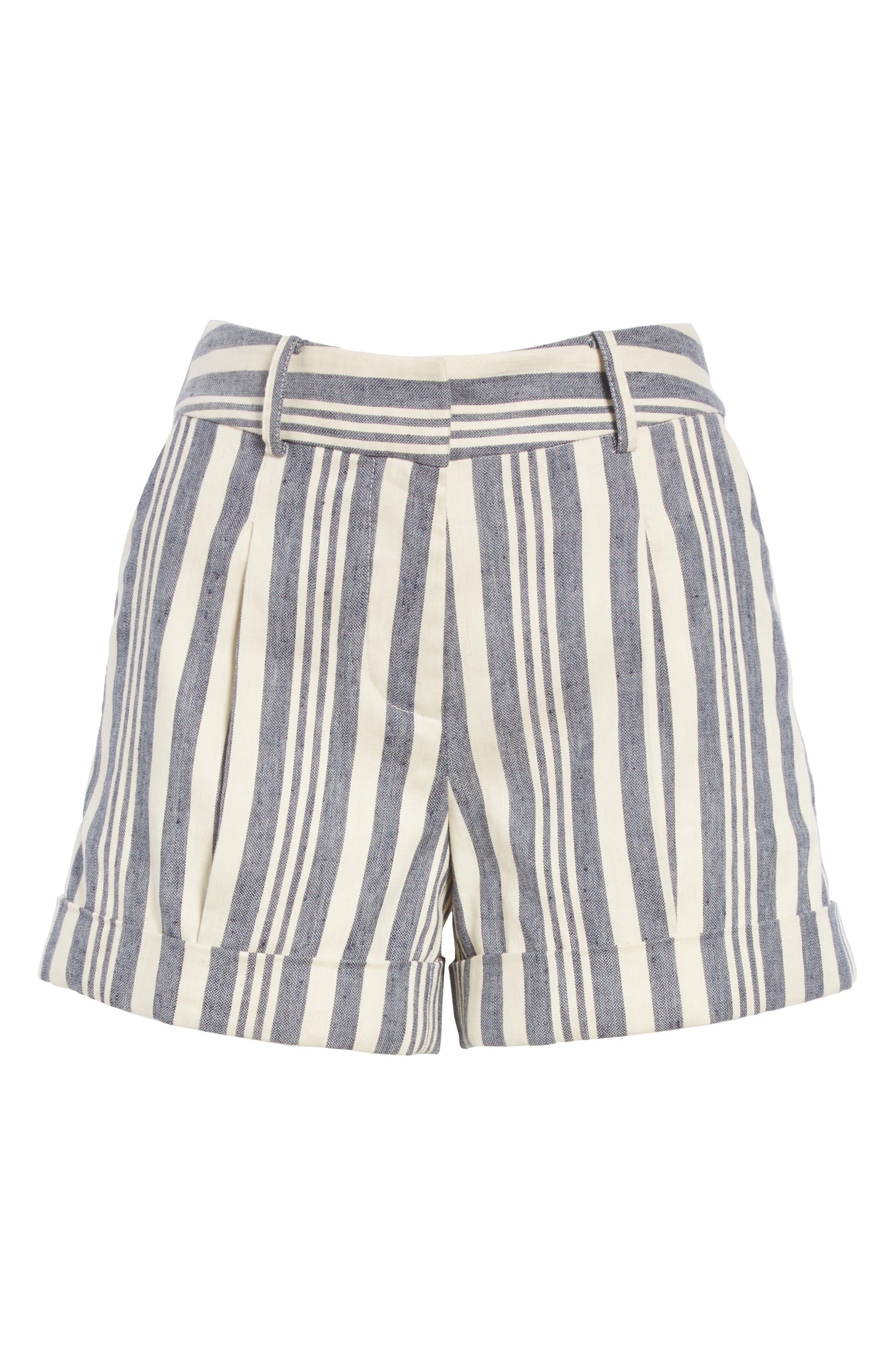 Carito Stripe Linen & Cotton Shorts,                             Alternate thumbnail 6, color,                             413