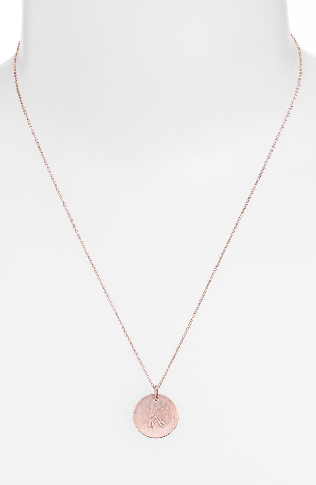 14k-Rose Gold Fill Initial Disc Necklace,                             Alternate thumbnail 37, color,