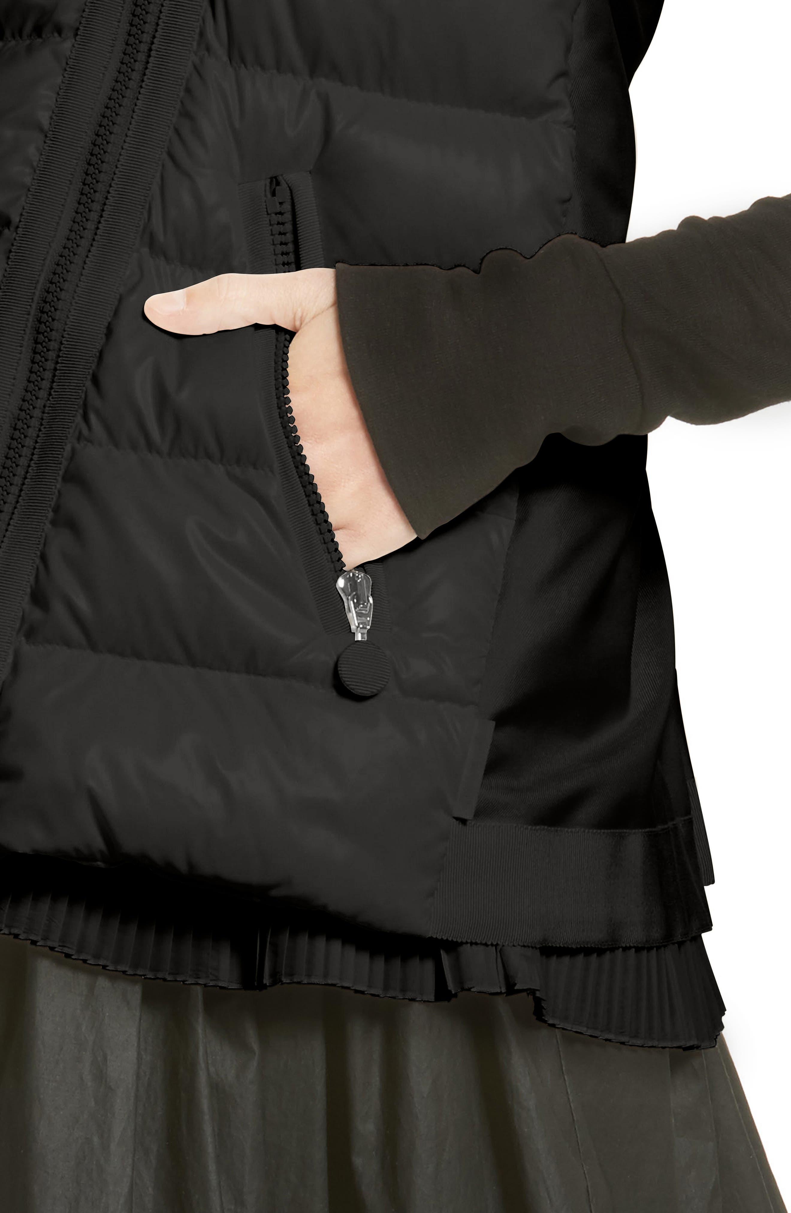 Jane Mixed Media Down Puffer Vest,                             Alternate thumbnail 4, color,                             001