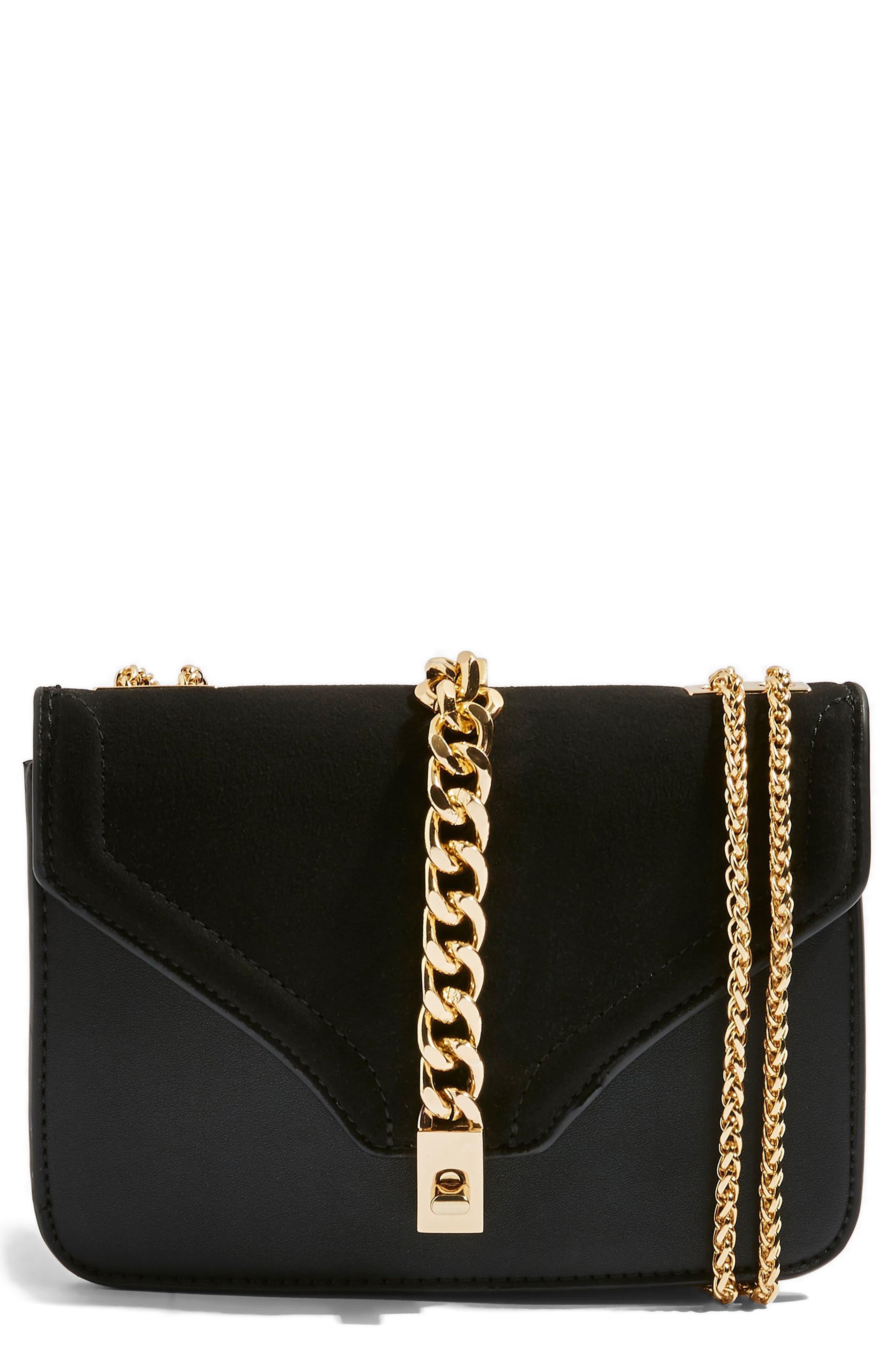 Daisy Chain Faux Leather Crossbody Bag,                             Main thumbnail 1, color,                             BLACK MULTI