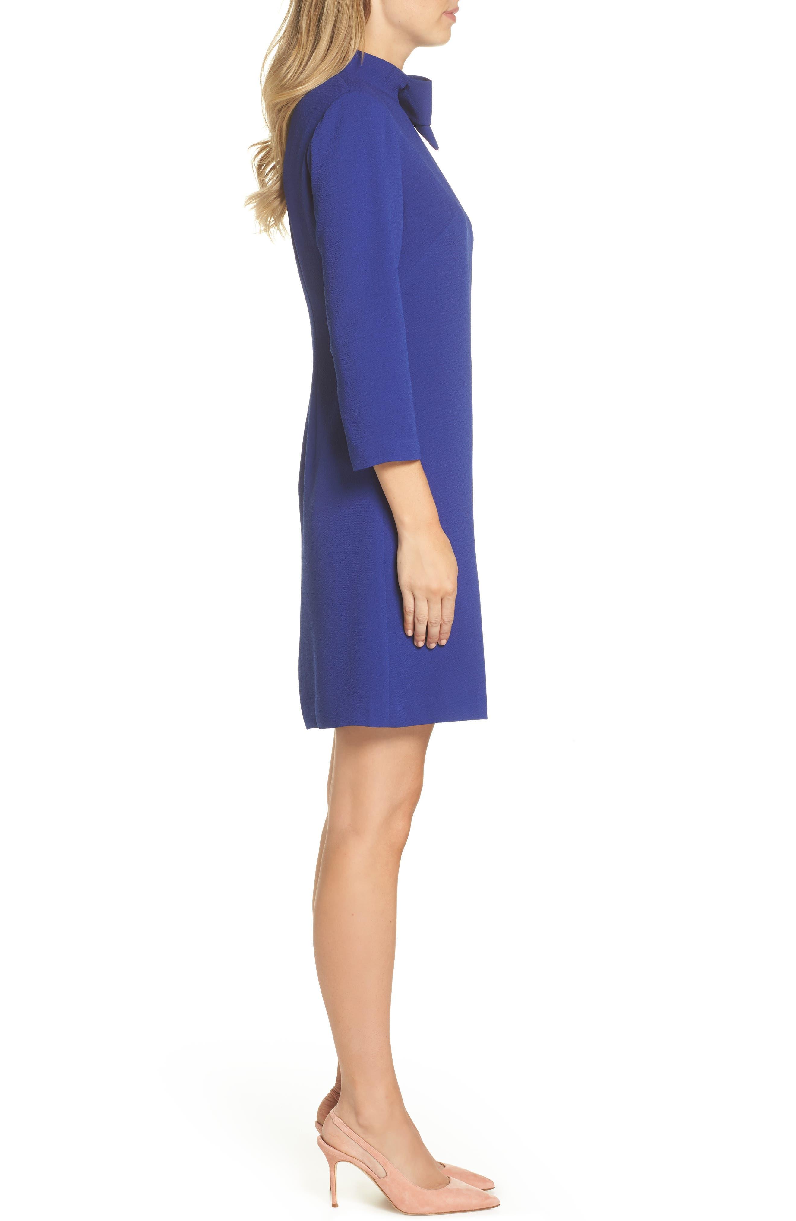 Bow Crepe A-Line Dress,                             Alternate thumbnail 3, color,                             COBALT