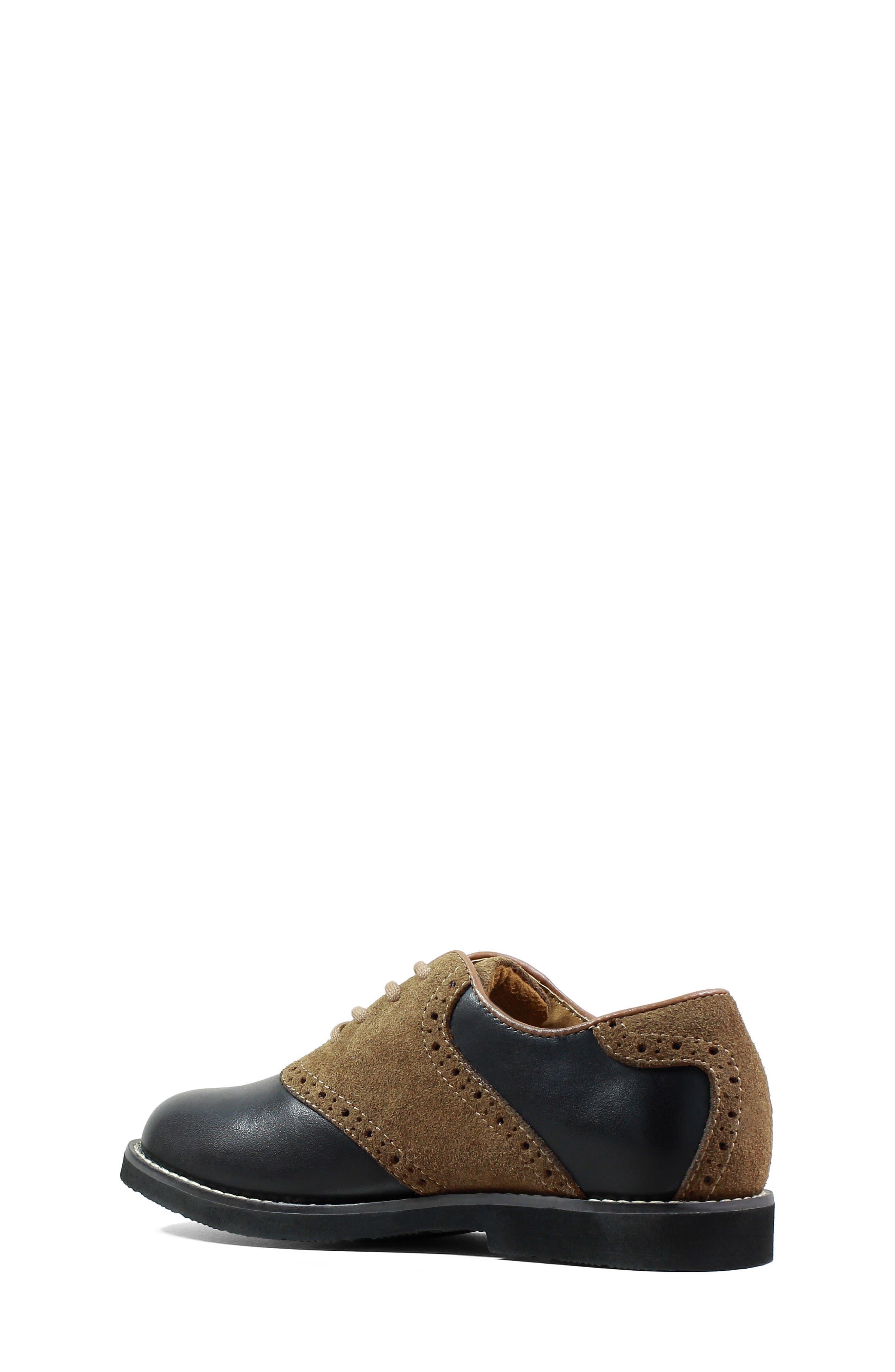 'Kennett Jr. II' Saddle Shoe,                             Main thumbnail 1, color,                             SMOOTH BLACK W/ MOCHA SUEDE