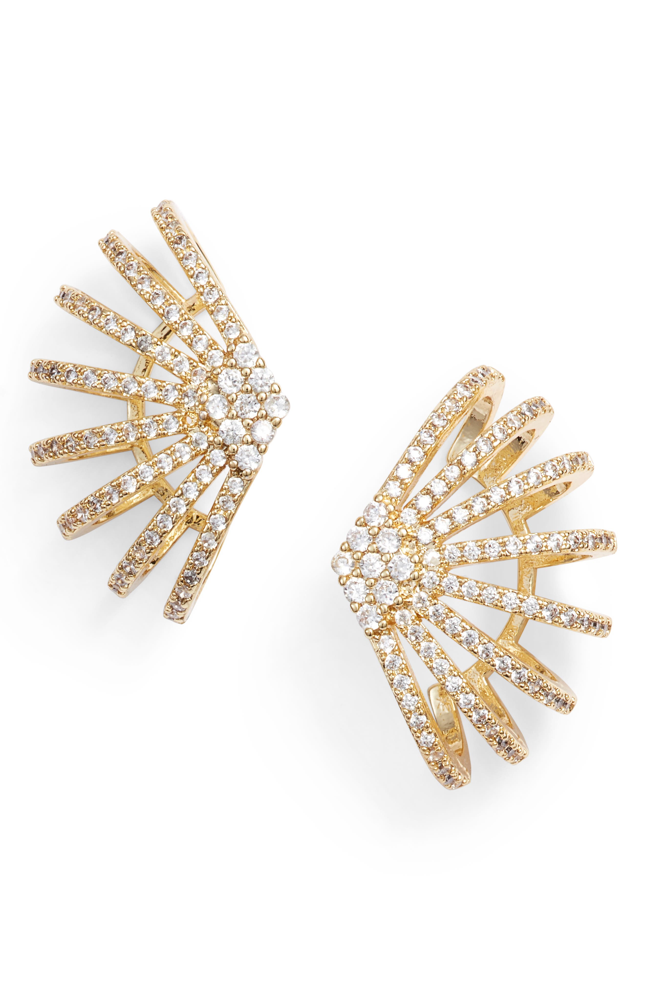 MELINDA MARIA Cubic Zirconia Earrings in Clear/ Gold