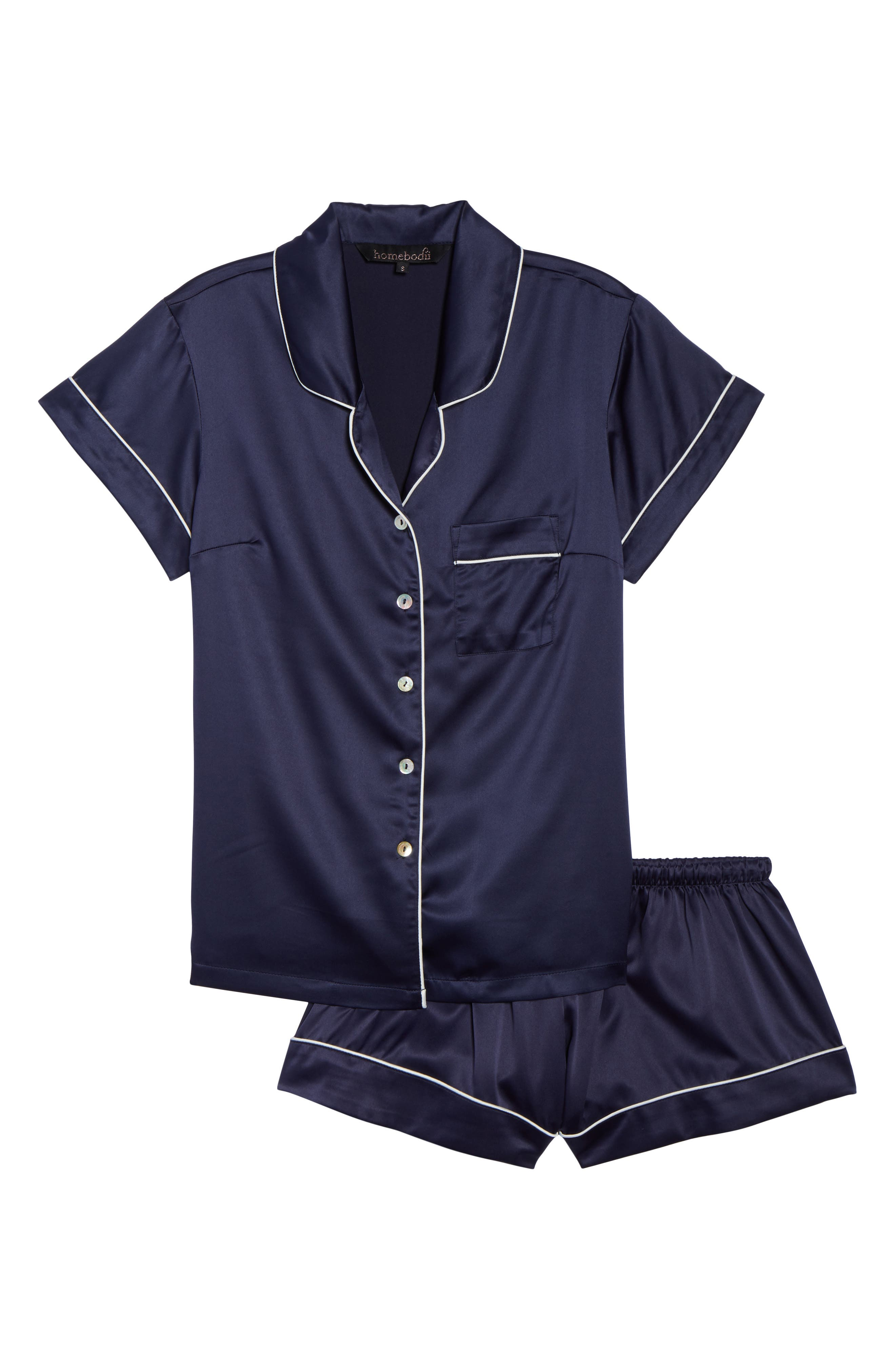 Piped Short Pajamas,                             Alternate thumbnail 6, color,                             BLUE