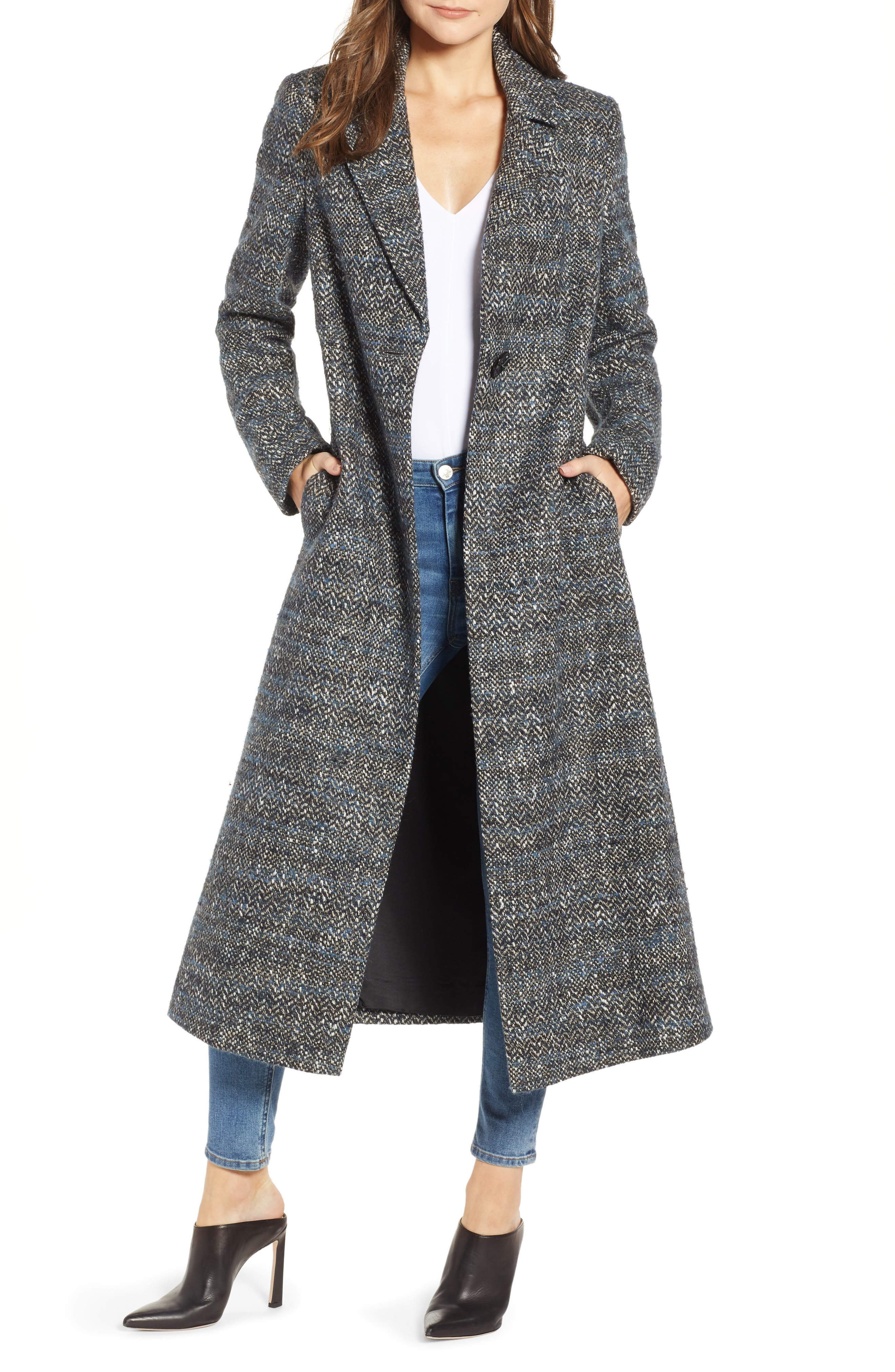 Tweed Reefer Maxi Coat,                             Main thumbnail 1, color,                             BLUE TWEED