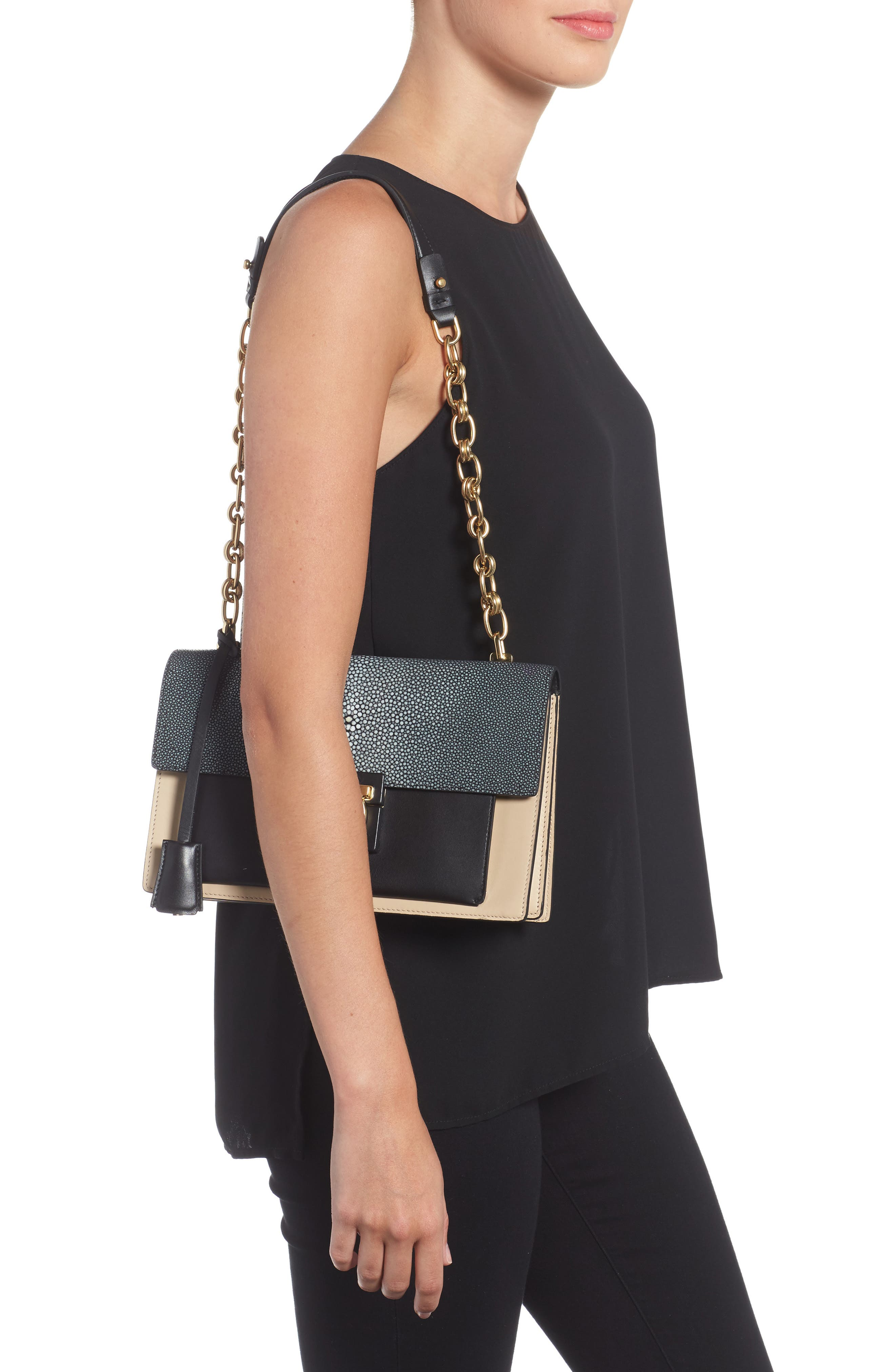 SALVATORE FERRAGAMO,                             Stingray Leather Shoulder Bag,                             Alternate thumbnail 2, color,                             974