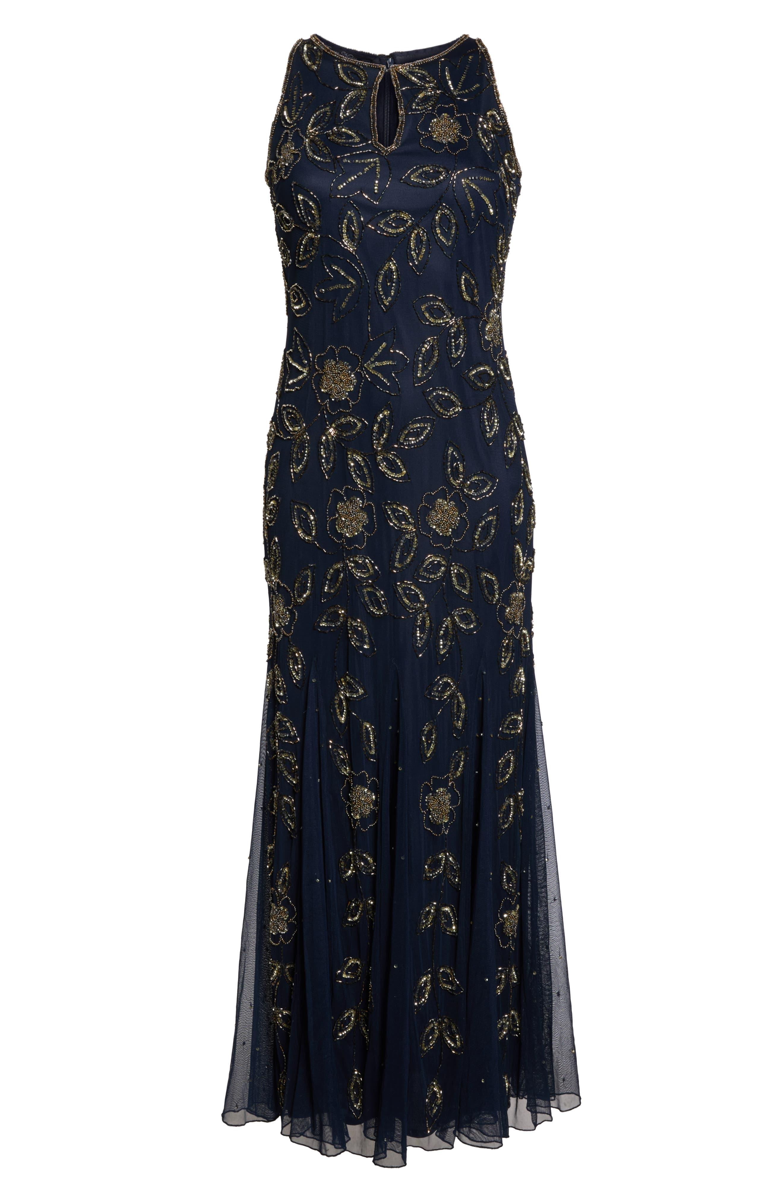 Beaded Godet Gown,                             Alternate thumbnail 6, color,                             410