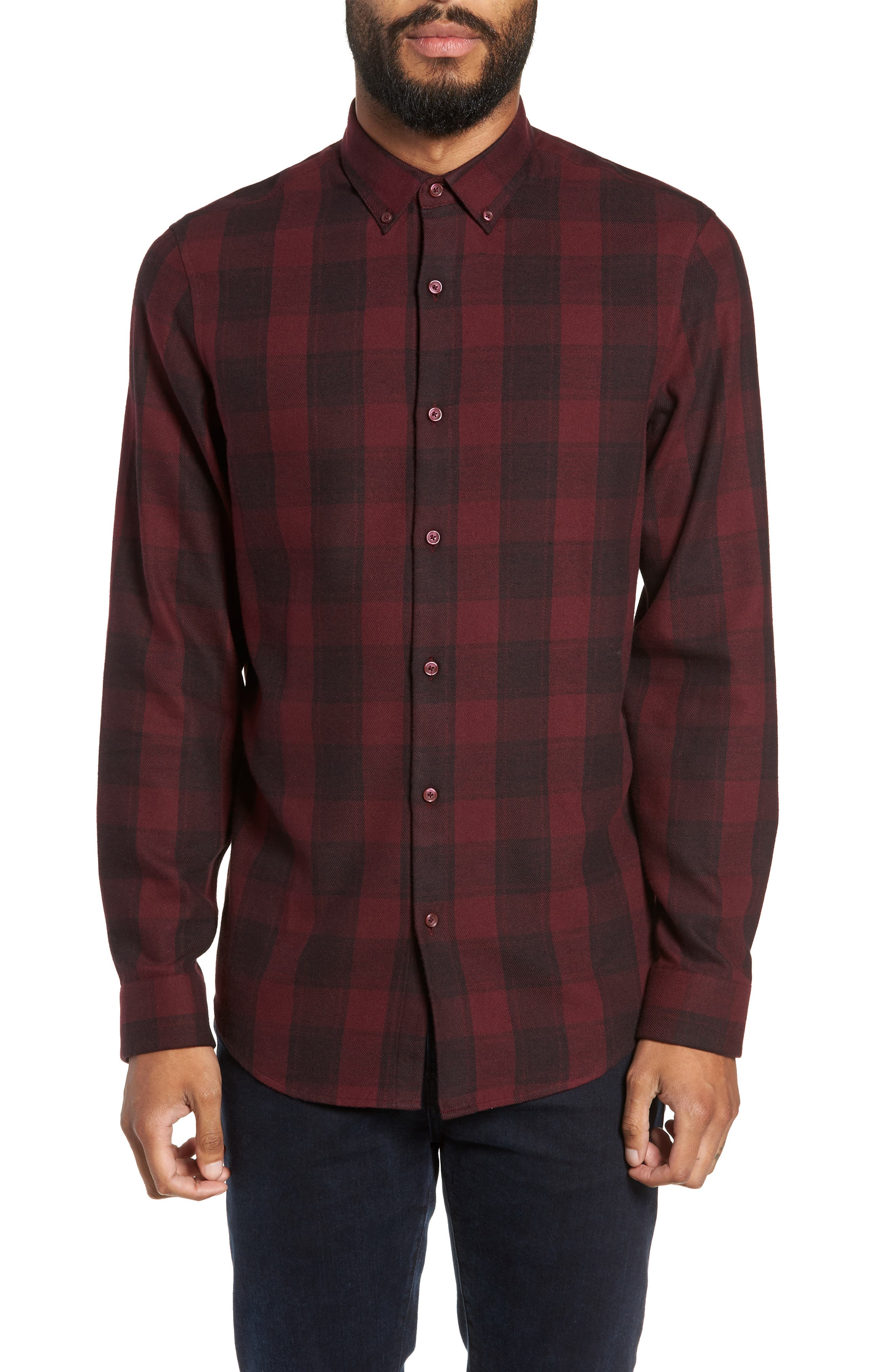 Slim Fit Mini Collar Check Flannel Sport Shirt,                         Main,                         color, 930