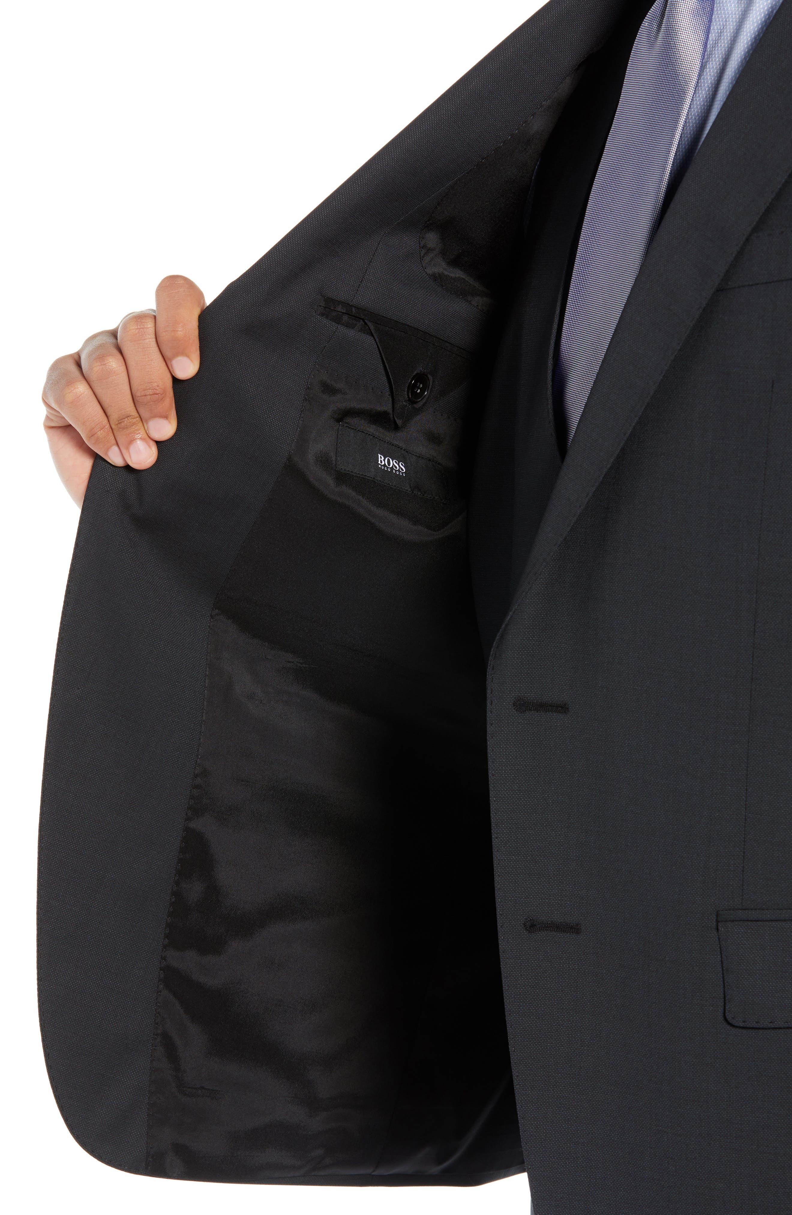 BOSS,                             Helward/Genius Trim Fit Solid Three Piece Wool Suit,                             Alternate thumbnail 5, color,                             DARK GREY