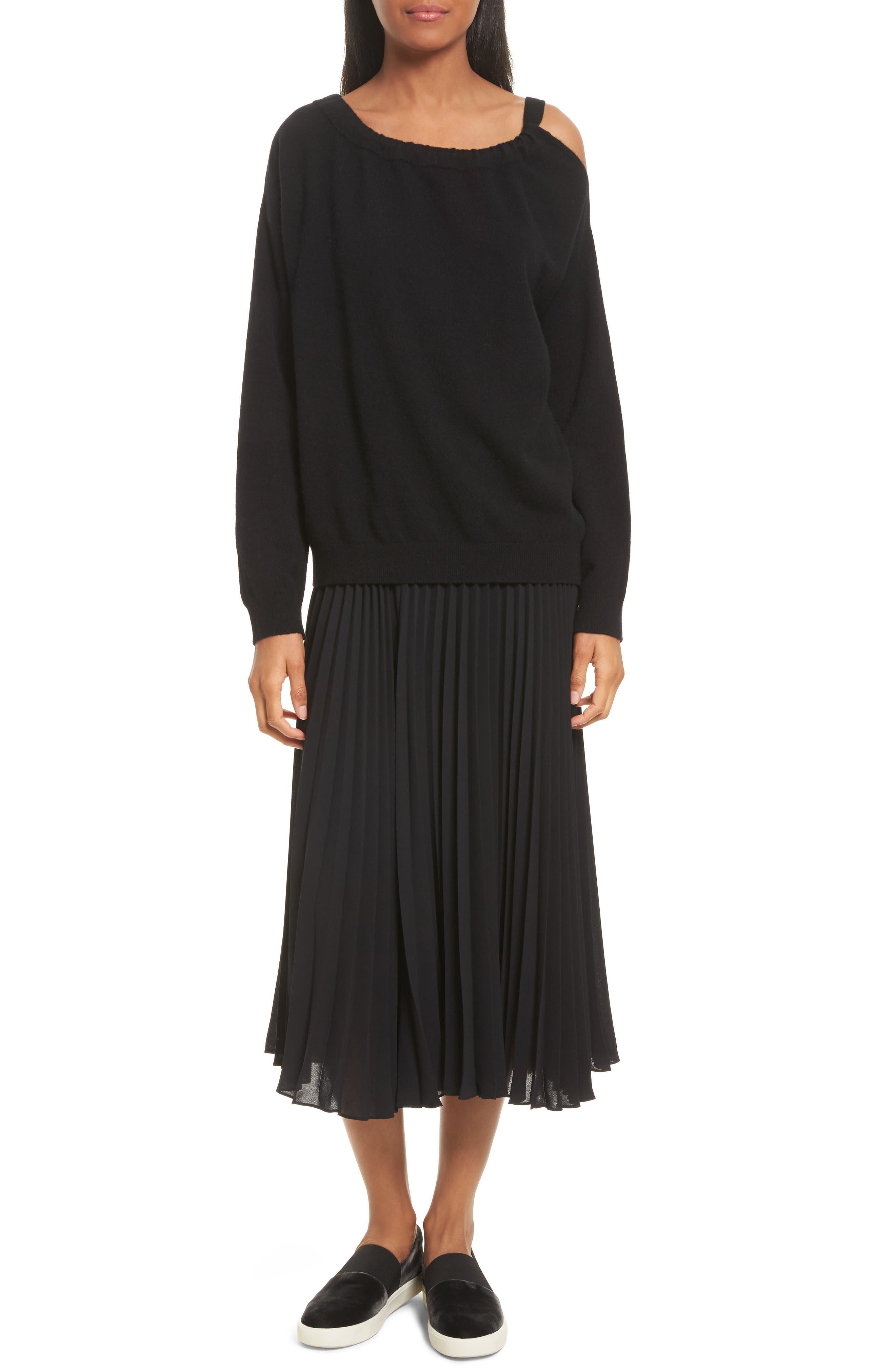 Pleated Chiffon Midi Skirt,                             Alternate thumbnail 6, color,                             001