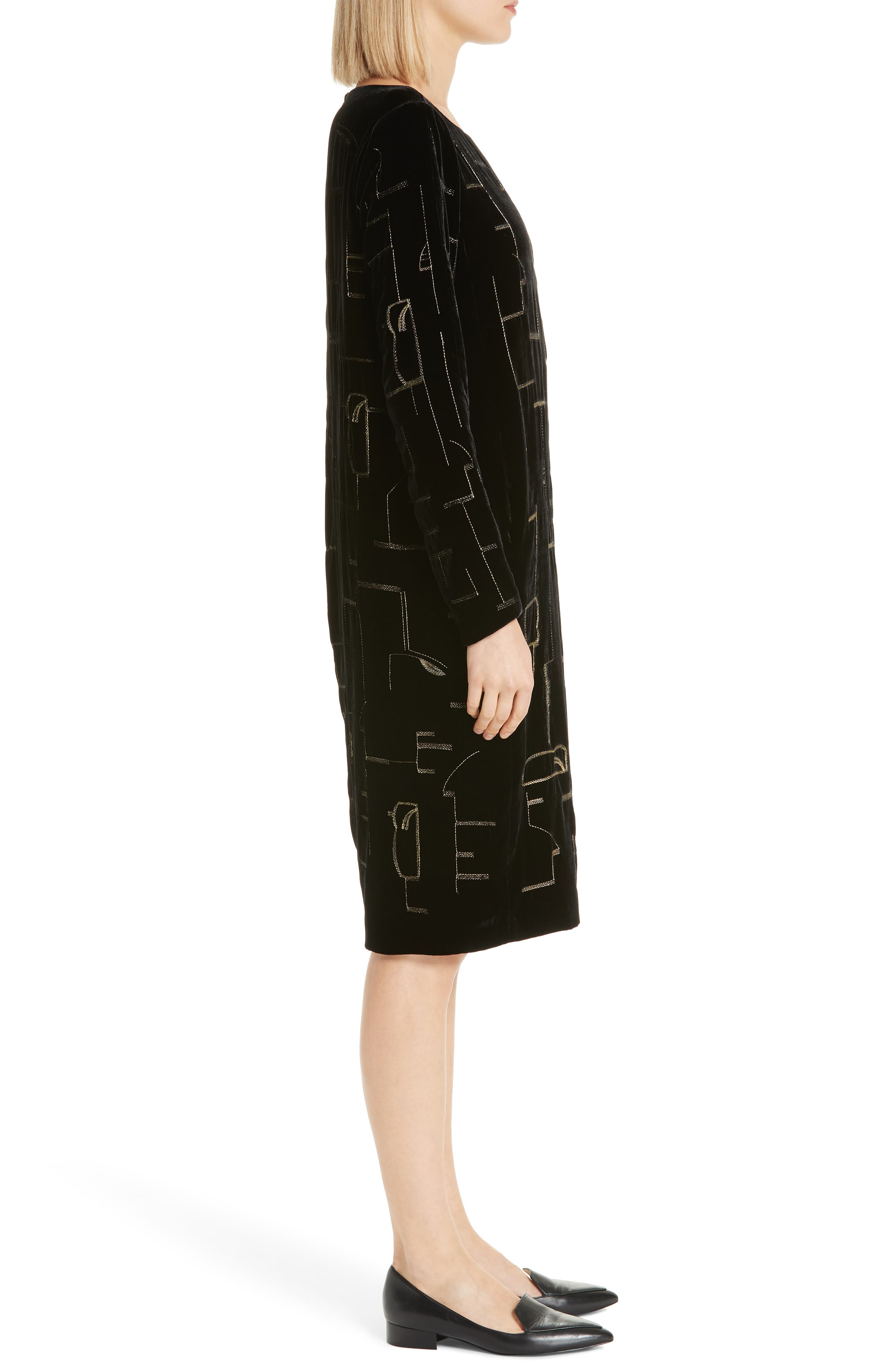 LAFAYETTE 148 NEW YORK,                             Cressida Embellished Velvet Dress,                             Alternate thumbnail 3, color,                             BLACK MULTI