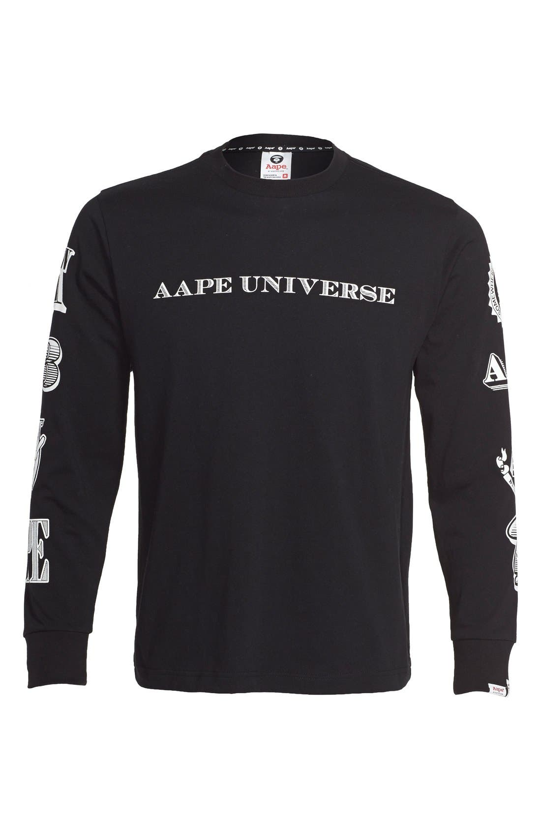 AAPE BY A BATHING APE<SUP>®</SUP>,                             Long Sleeve Graphic T-Shirt,                             Main thumbnail 1, color,                             001