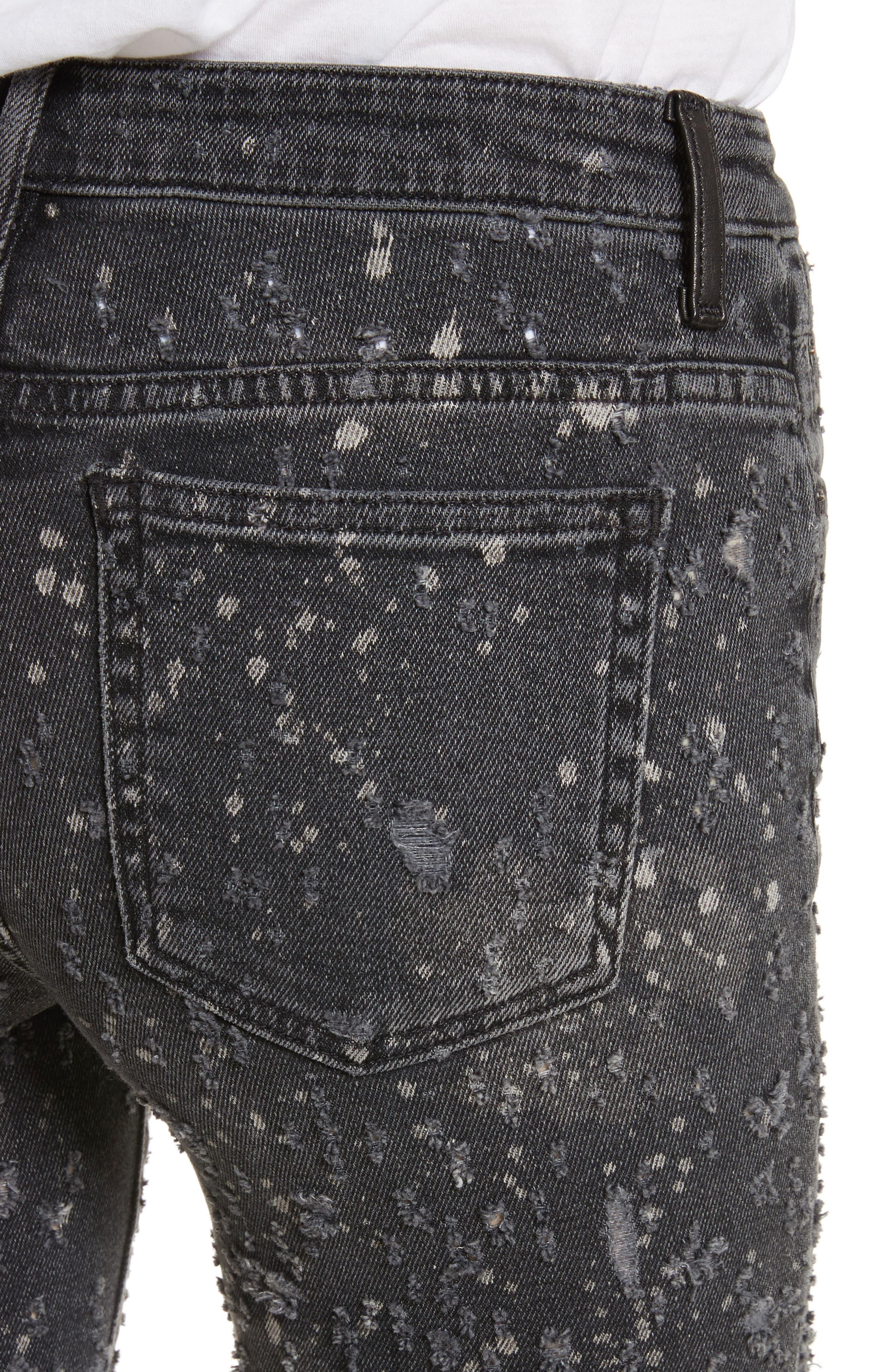Denim X Alexander Wang Slim Destroyed Jeans,                             Alternate thumbnail 4, color,                             023