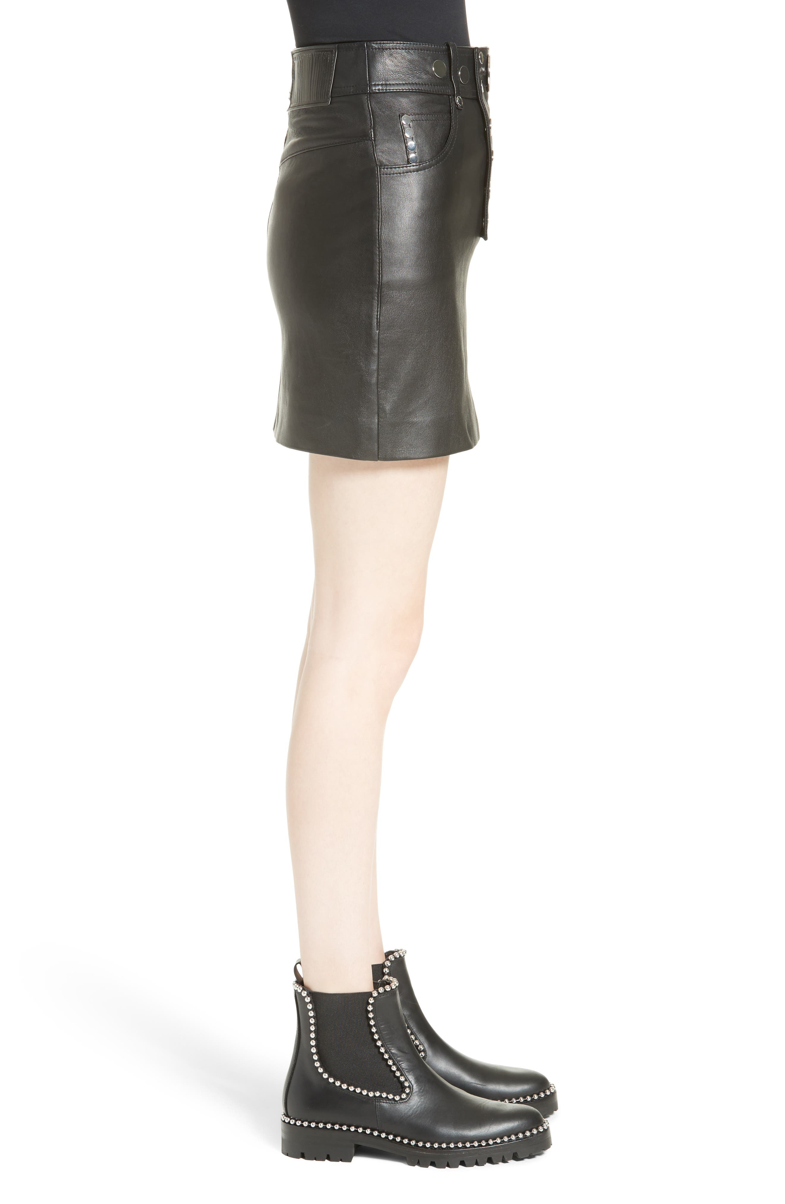 Snap Leather Miniskirt,                             Alternate thumbnail 3, color,                             001
