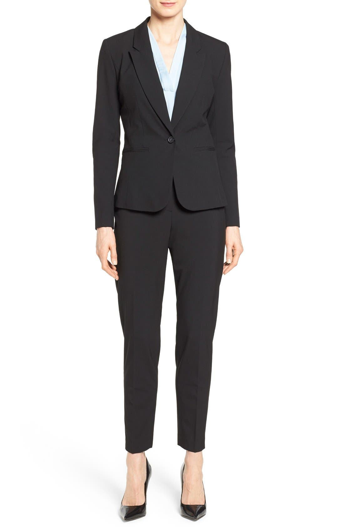 One-Button Stretch Suit Jacket,                             Alternate thumbnail 2, color,                             001